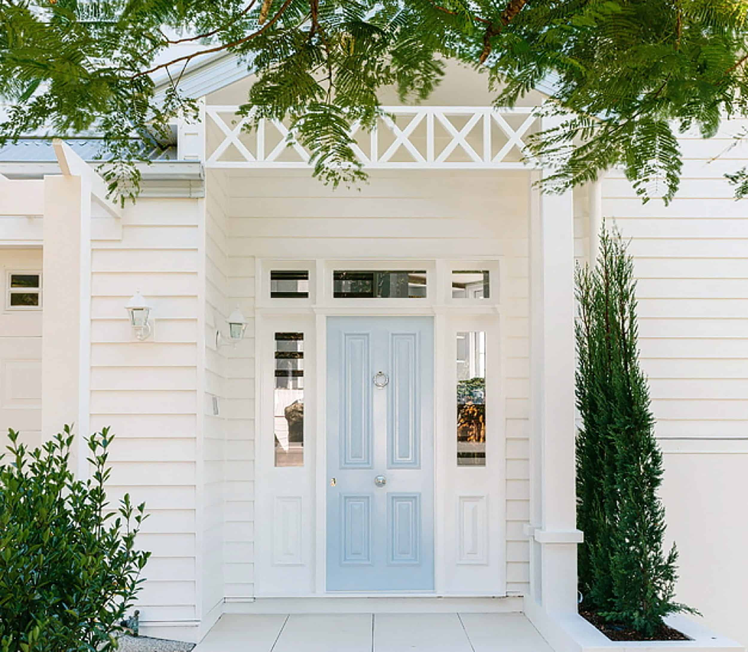 White House With Light Blue Door