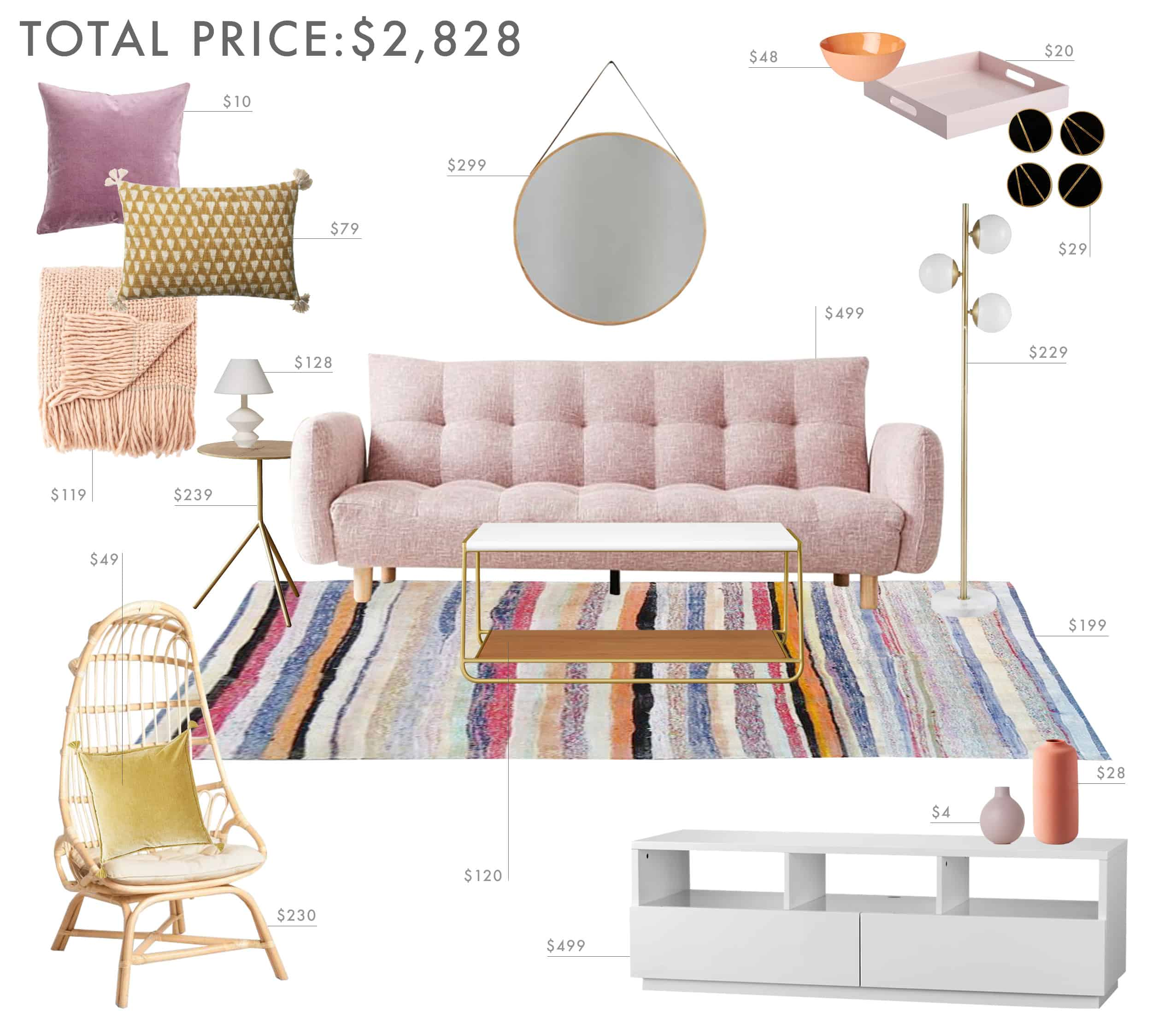 Emily Henderson Budget Room Lilac Living Room Under 3000k
