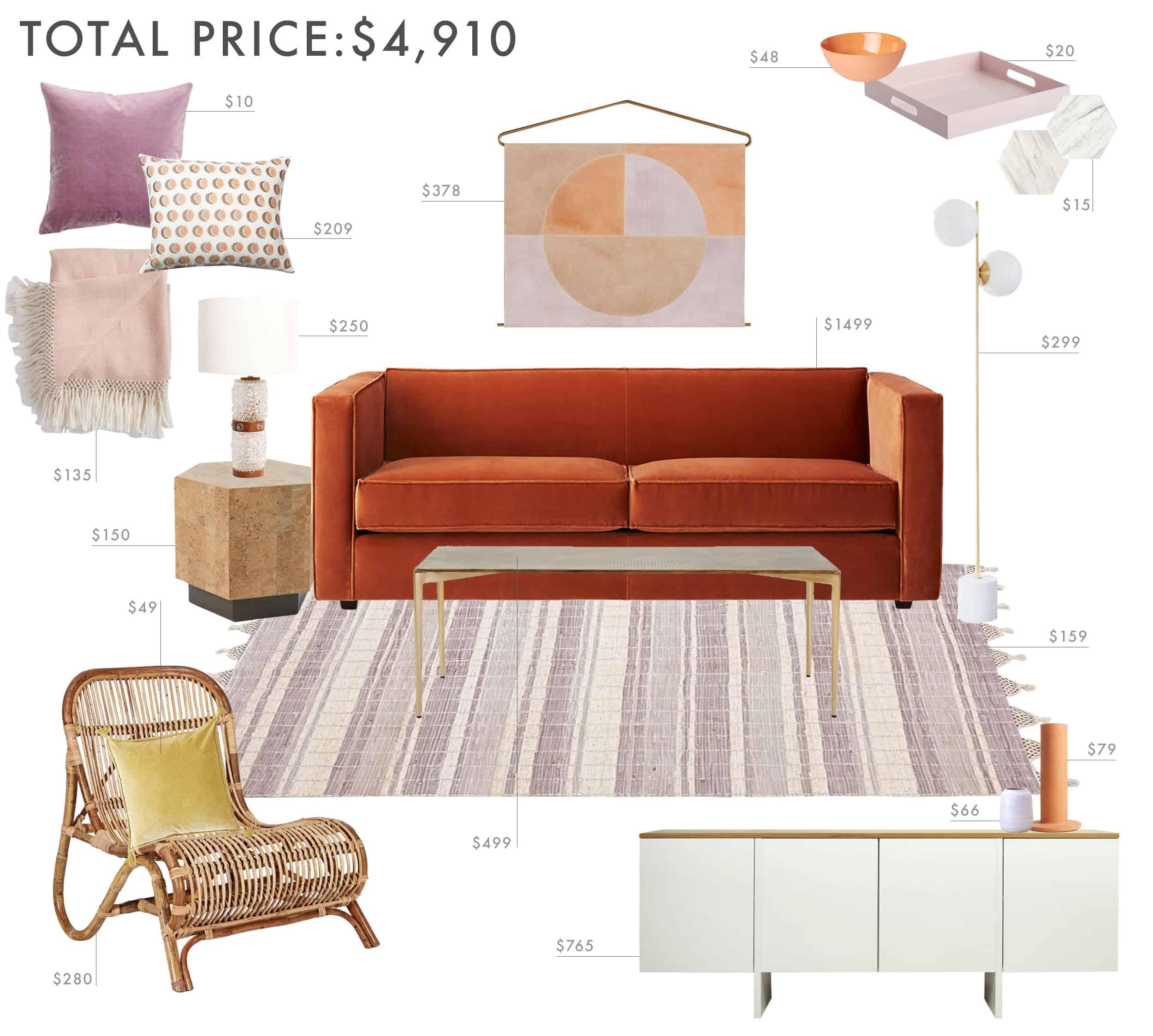 Emily Henderson Budget Room Lilac Living Room Under 5000k