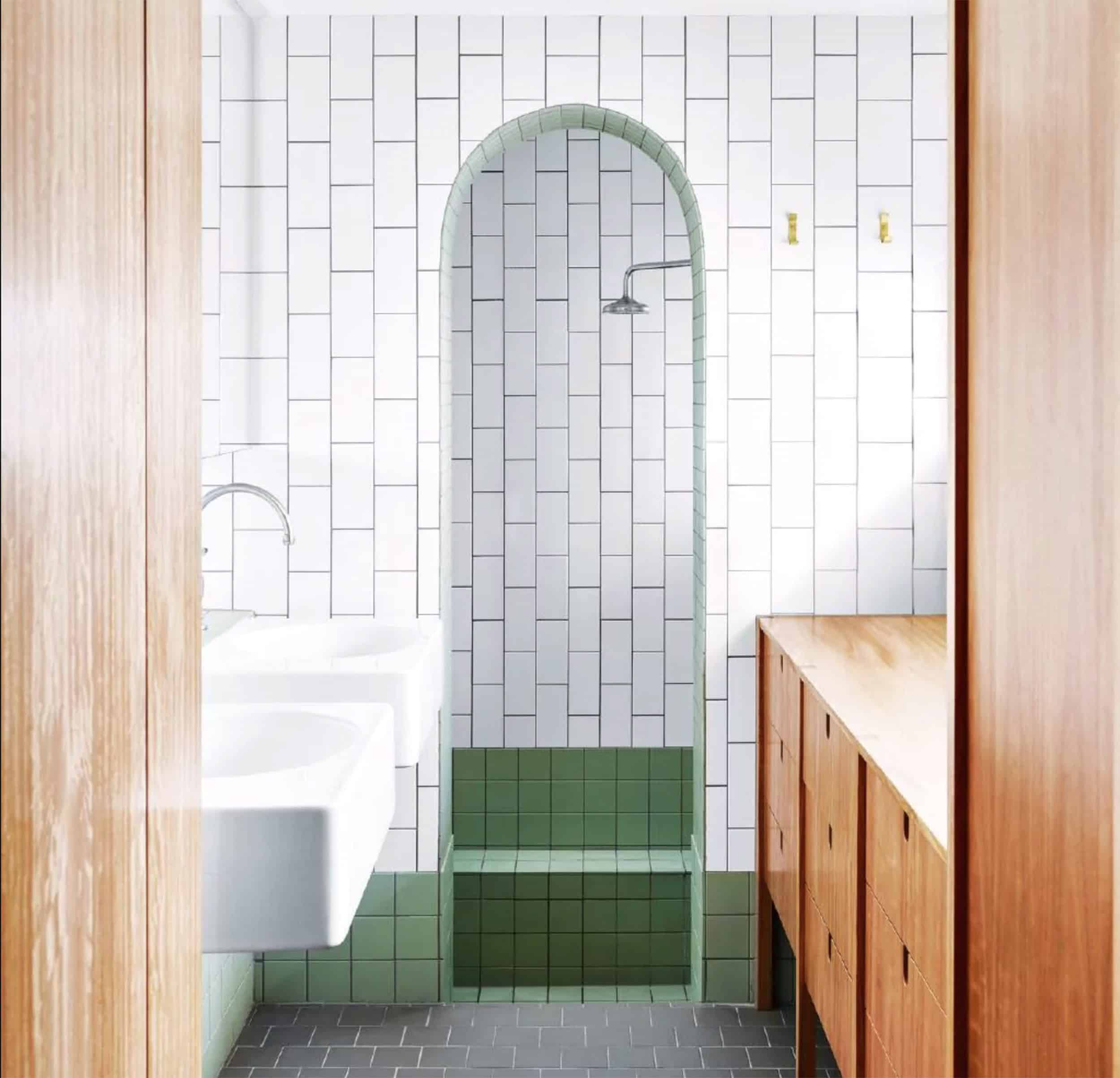 White & Green Bathroom Subway Tile