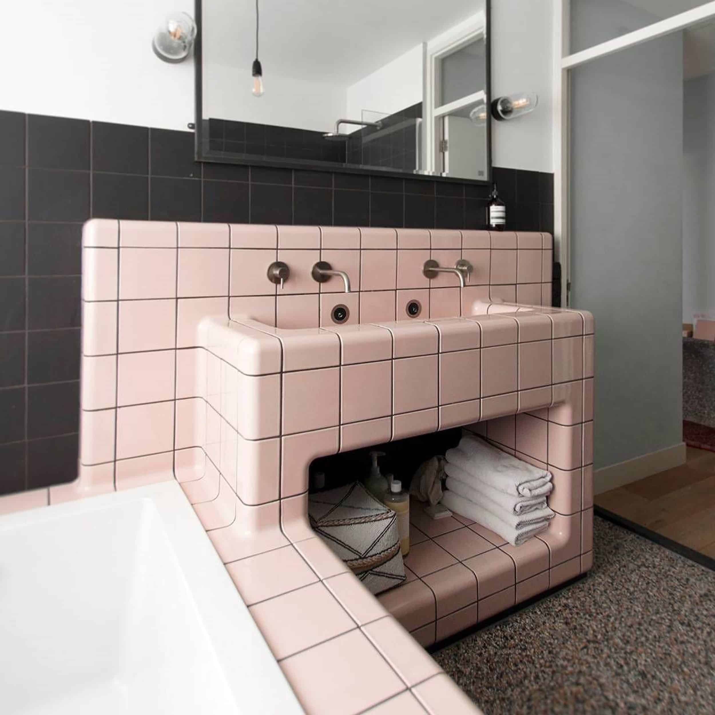 Pink & Gray Square Tile Bathroom Vanity