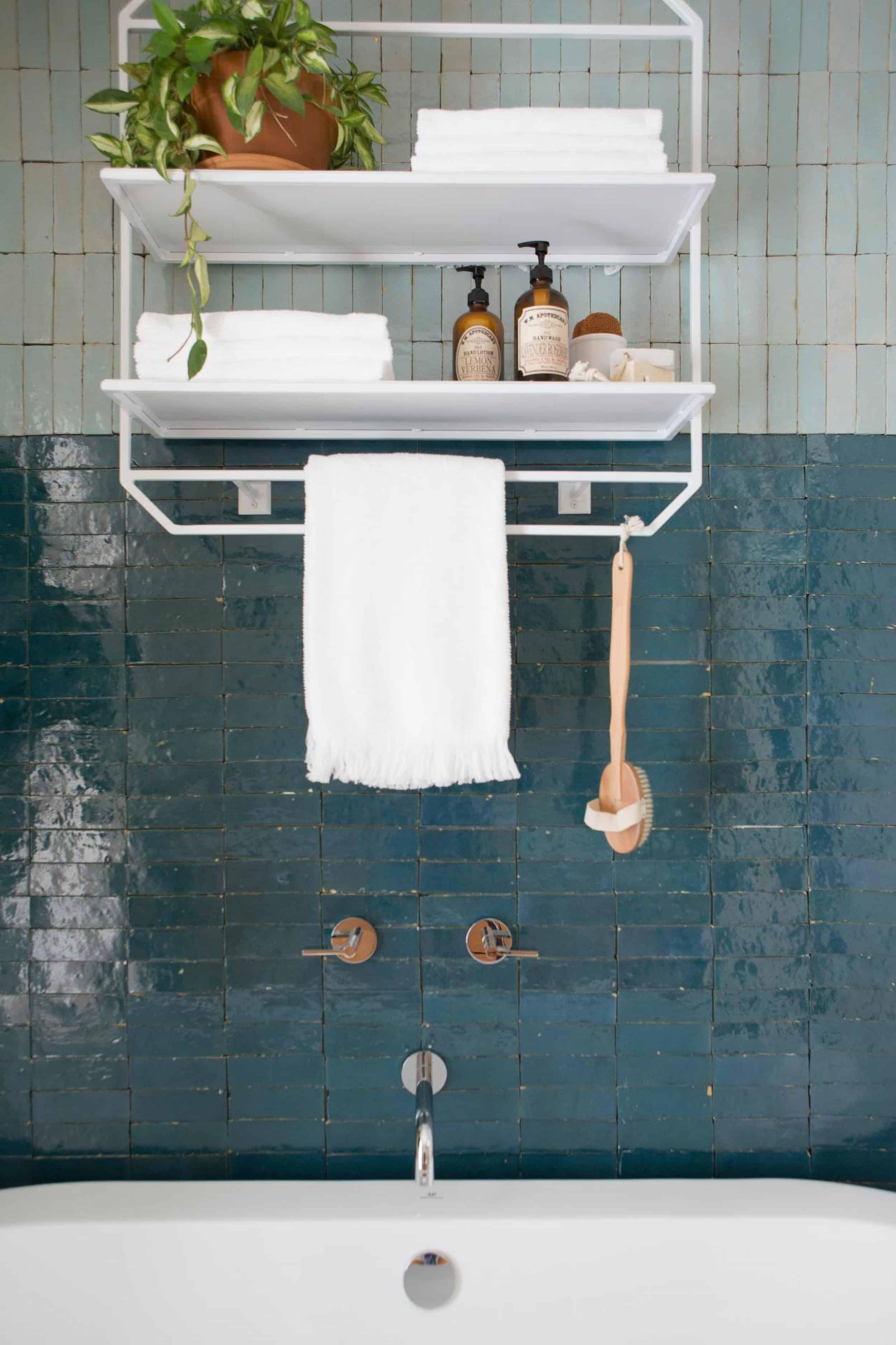 Fixer Upper Colorblock Tile in Bathroom
