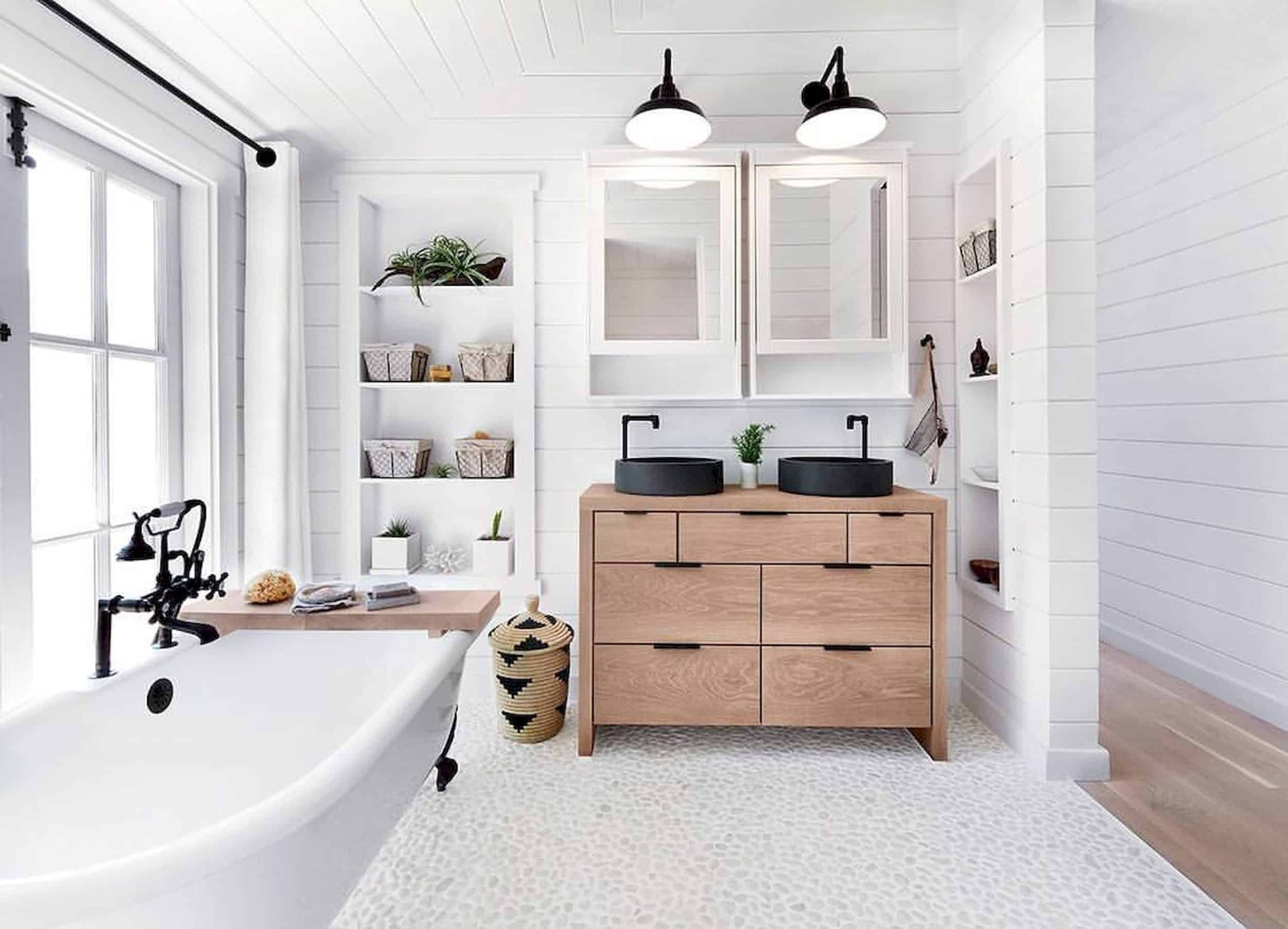 Modern Farmhouse Bathroom Pebble Floors