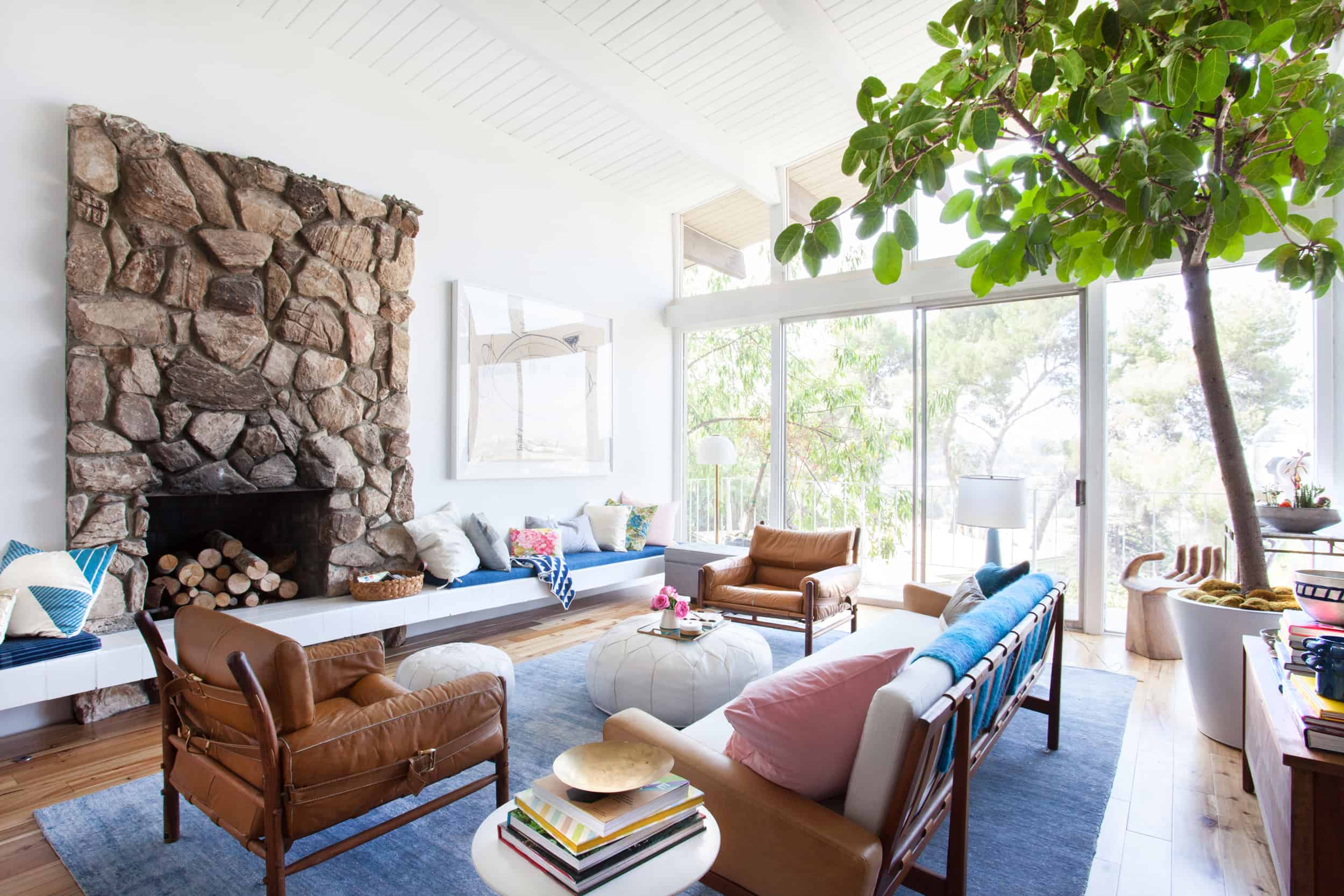 White Living Room Stone Fireplace