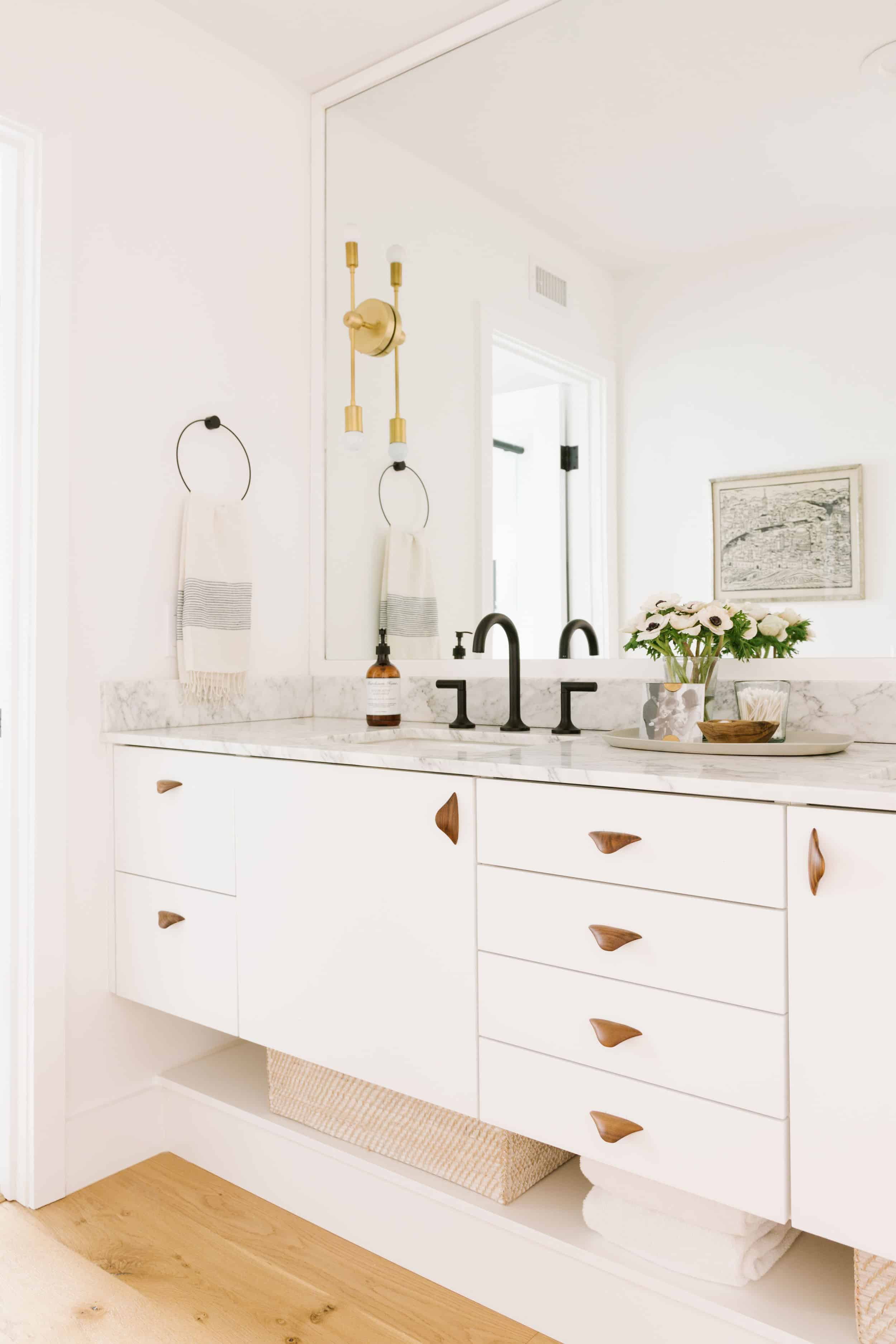 Samantha Gluck Emily Henderson Bathroom Modern Marble Counter