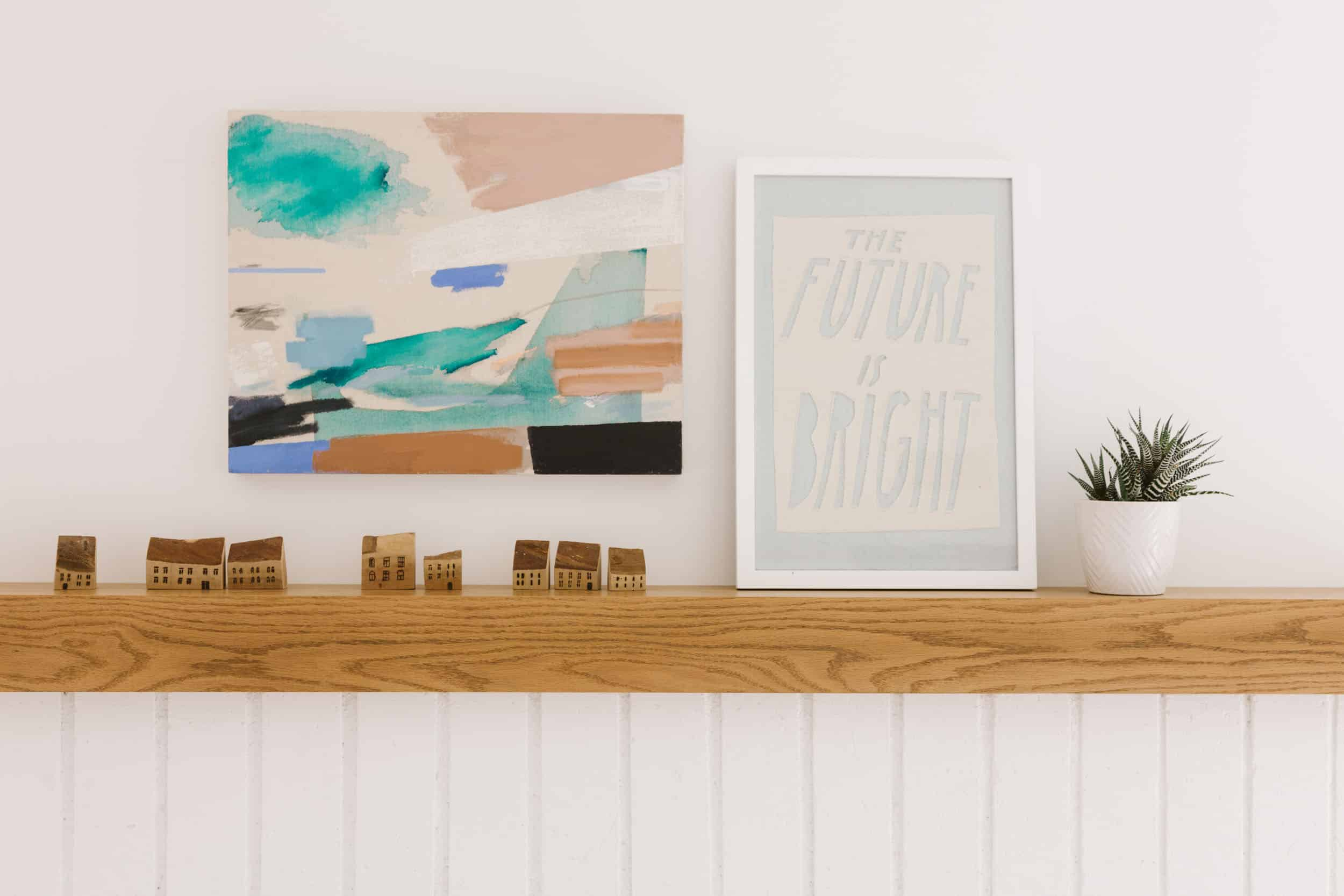 Samantha Gluck Emily Henderson Floating Wood Mantle