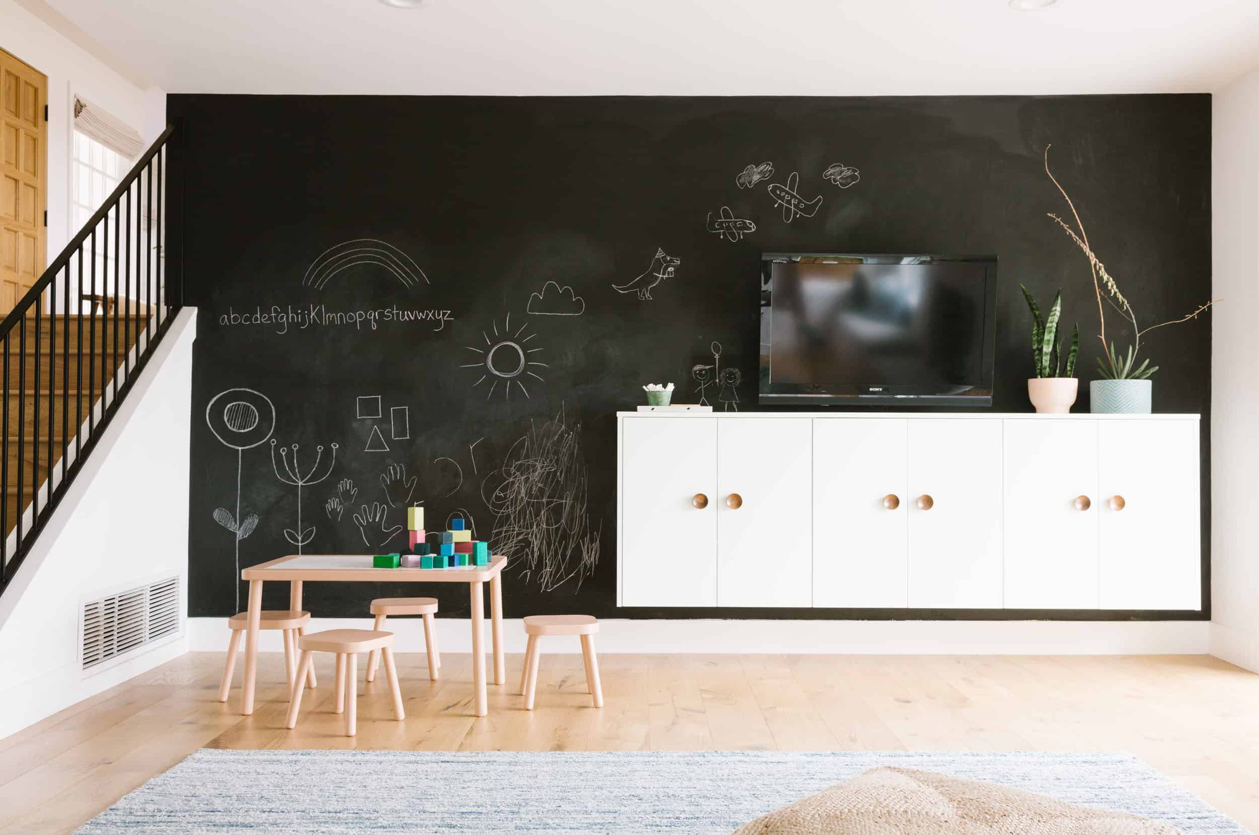 Samantha Gluck Emily Henderson Giant Chalk Wall Playroom