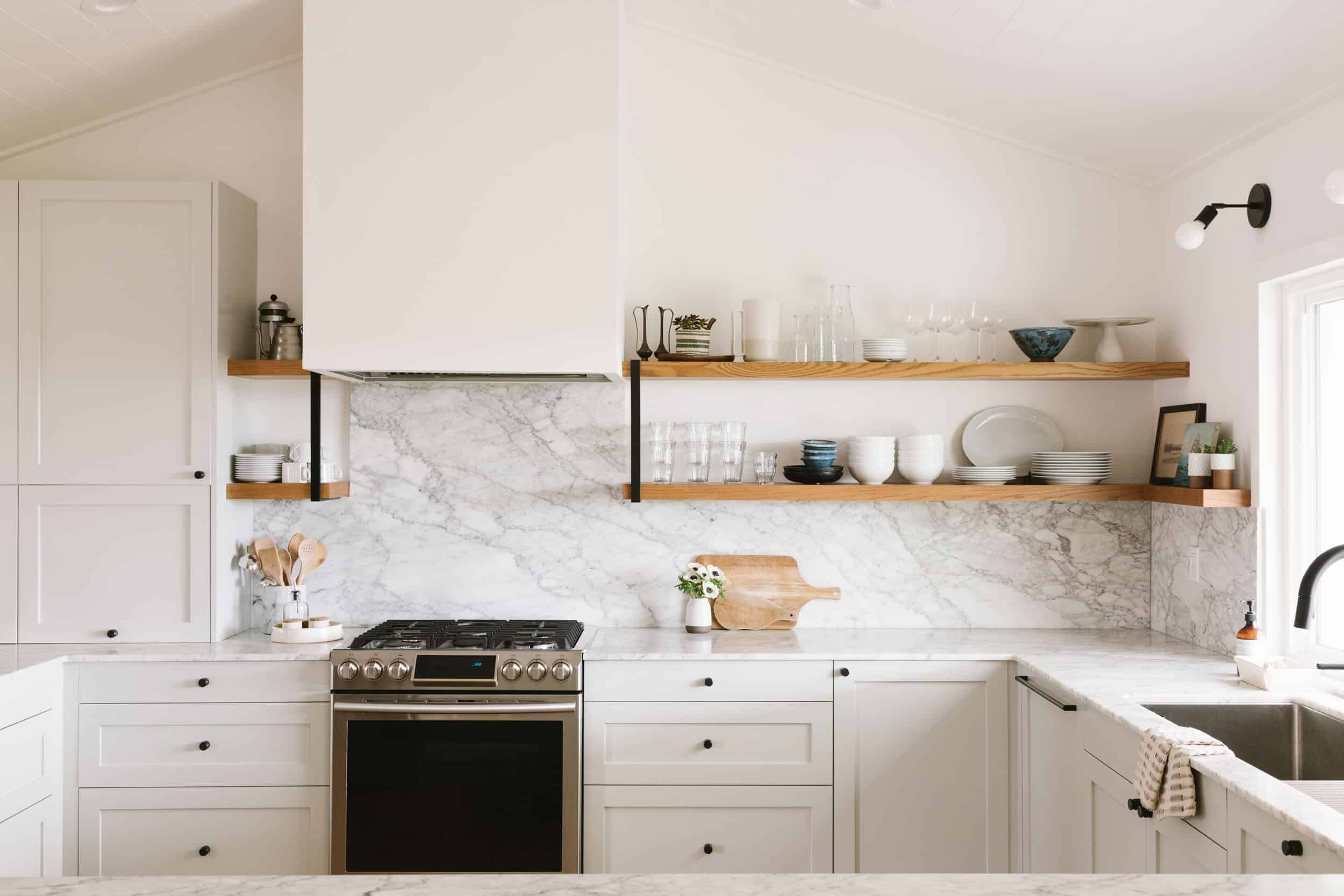 Samantha Gluck Emily Henderson Kitchen Marble Backsplash