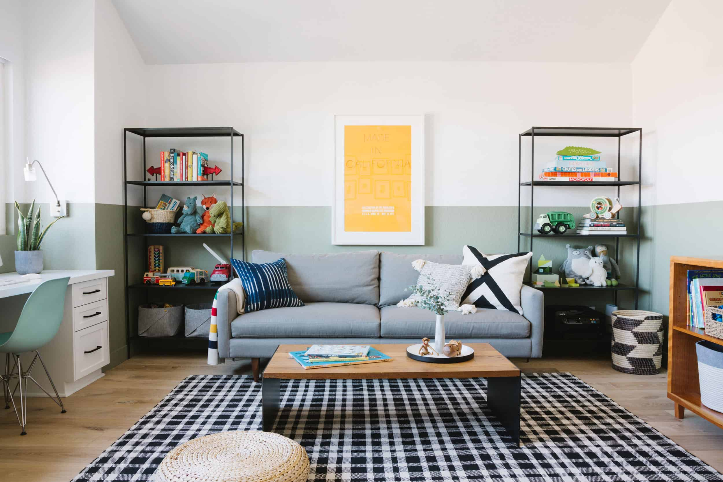 Samantha Gluck Emily Henderson Playroom Office Combination1
