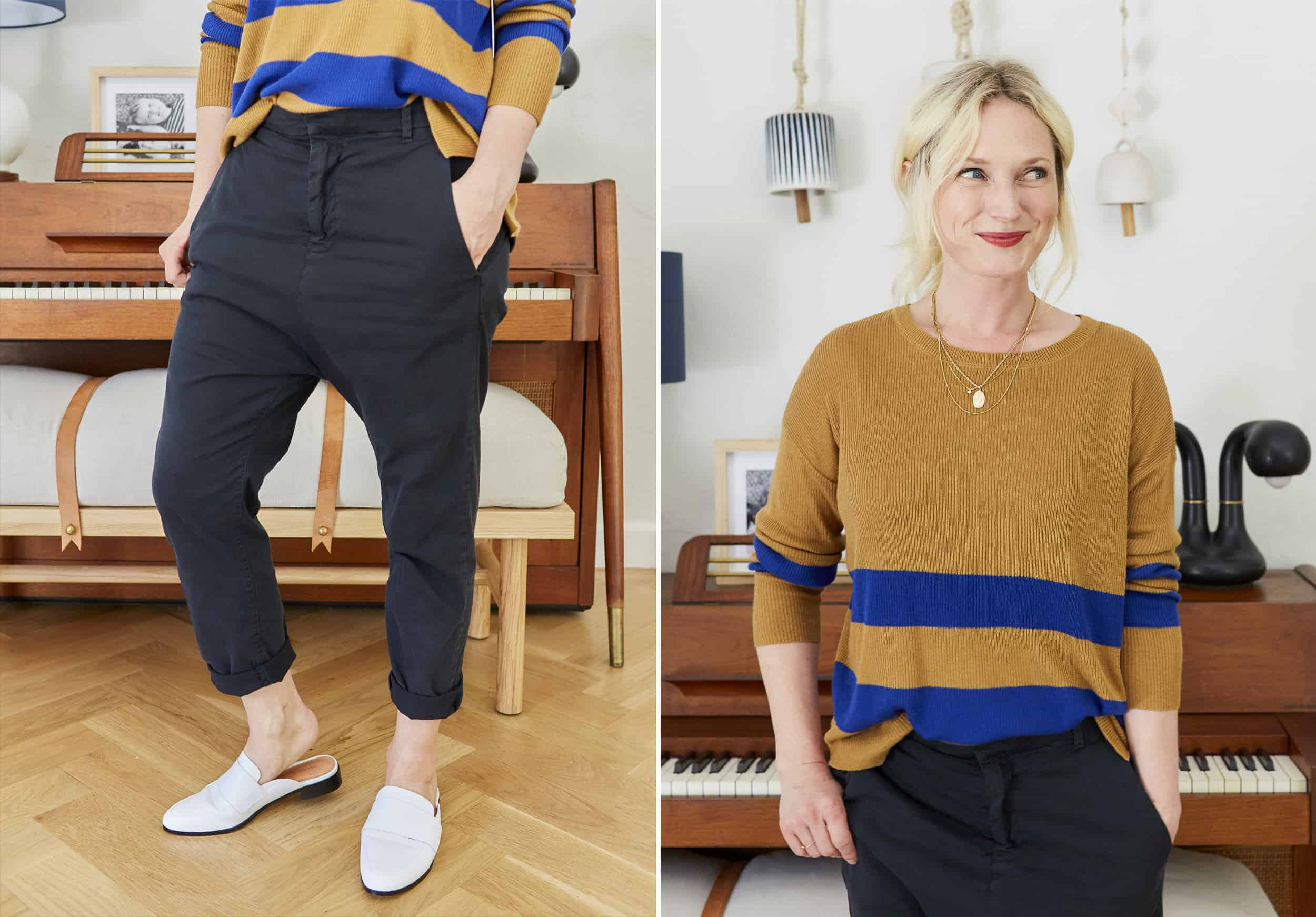 Emily Henderson Nordstroms Anniversary Sale Fall Essentials 2018 Blue And Tan Striped Sweater