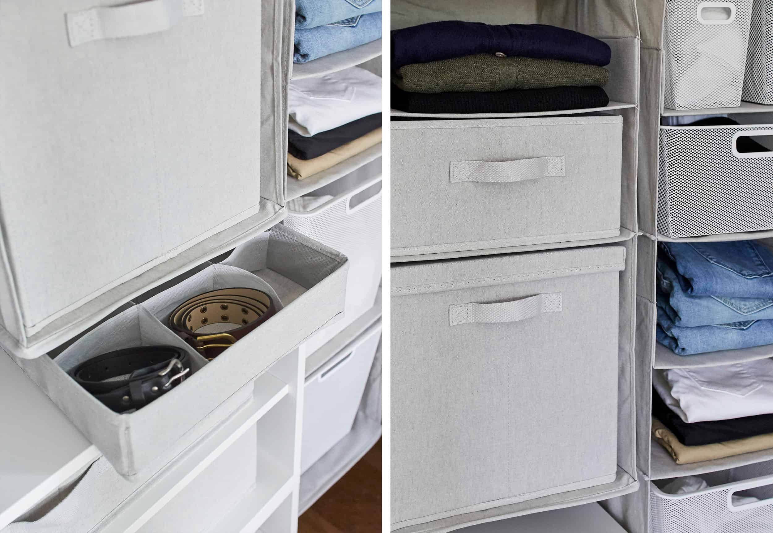 Emily Henderson Made By Design Bedroom Organization Closet Bins Side By Side