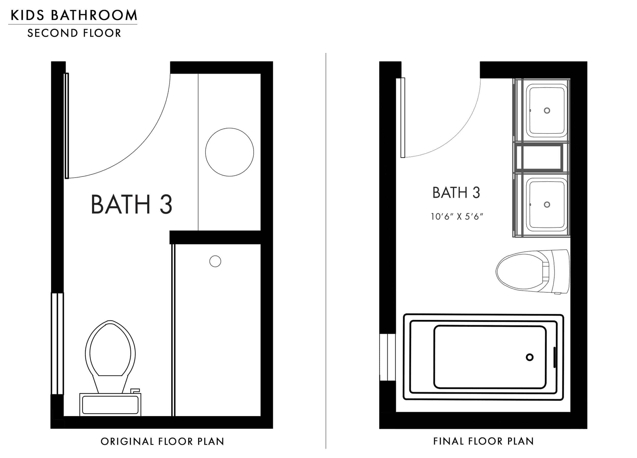 Emily Henderson Mountain Fixer Upper Kids Bathroom Update Floor Plan Original Vs Final