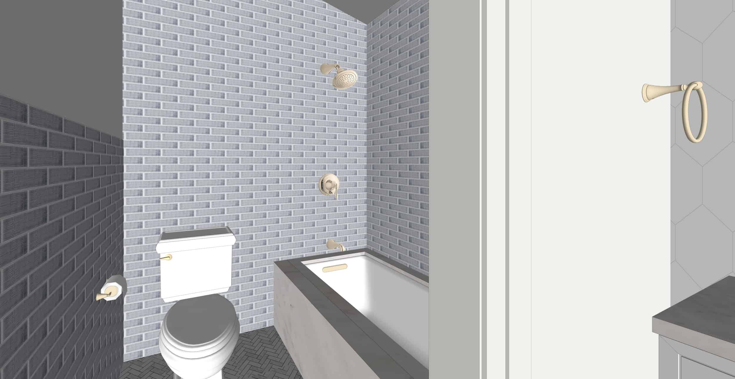 Emily Henderson Portland Fixer Upper Hall Bath Kids Toilet And Shower Render 7.31.18