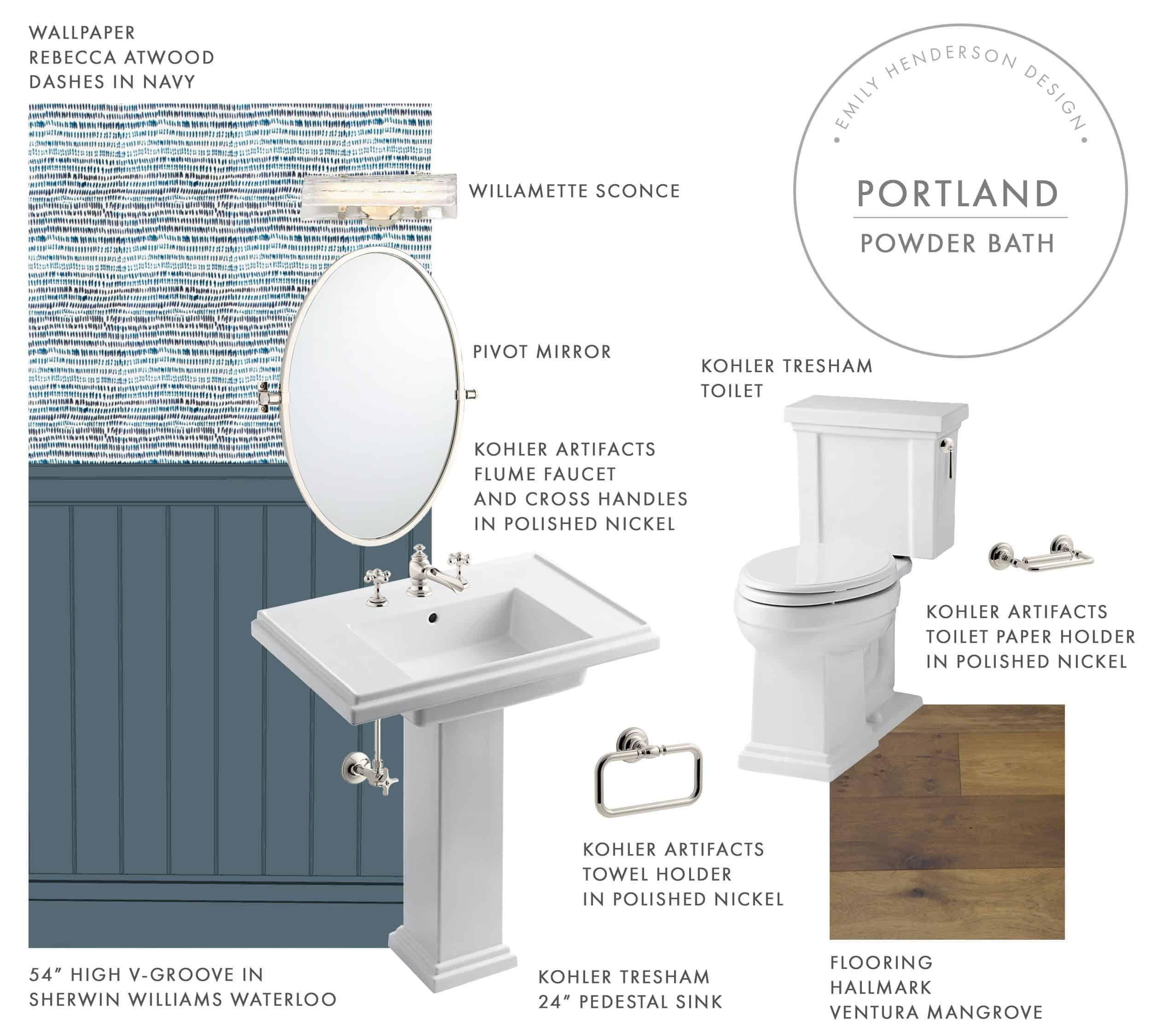 Emily Henderson Portland Fixer Upper Mood Boards Bathrooms First Floor Powder Bath