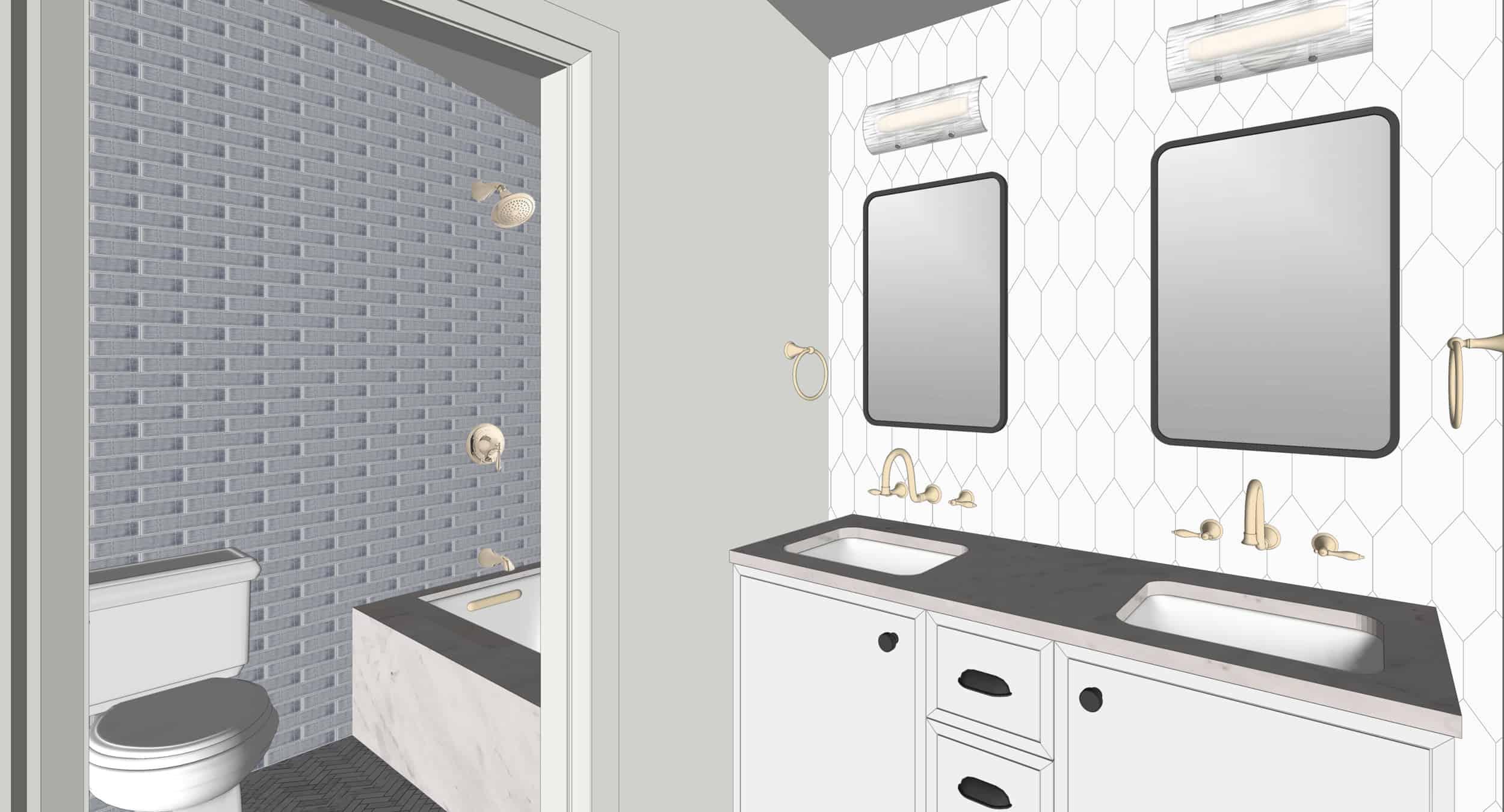Emily Henderson Portland Traditional Fixer Upper Hall Bath Kids Vanity Toilet Shower Render 01