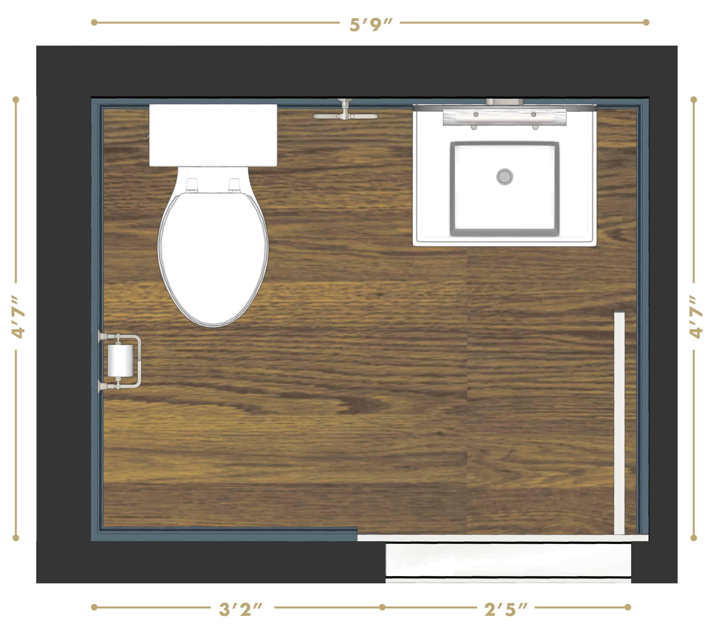 Emily Henderson Portland Traditional Fixer Upper Powder Bath Render Plan Updated