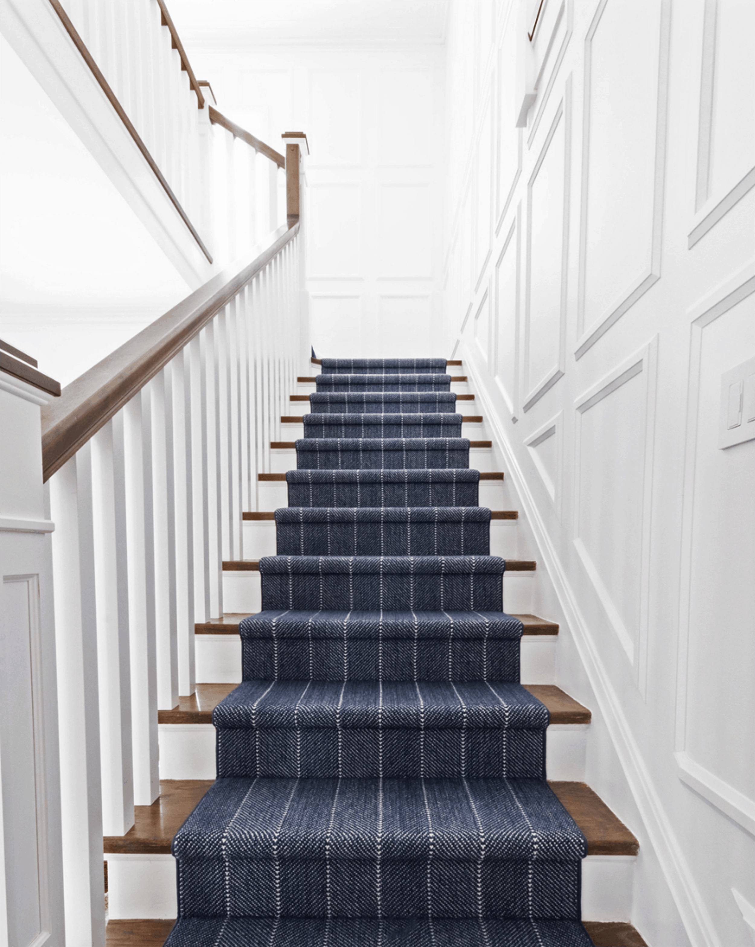 Blue Stripe Traditional Stair Runner