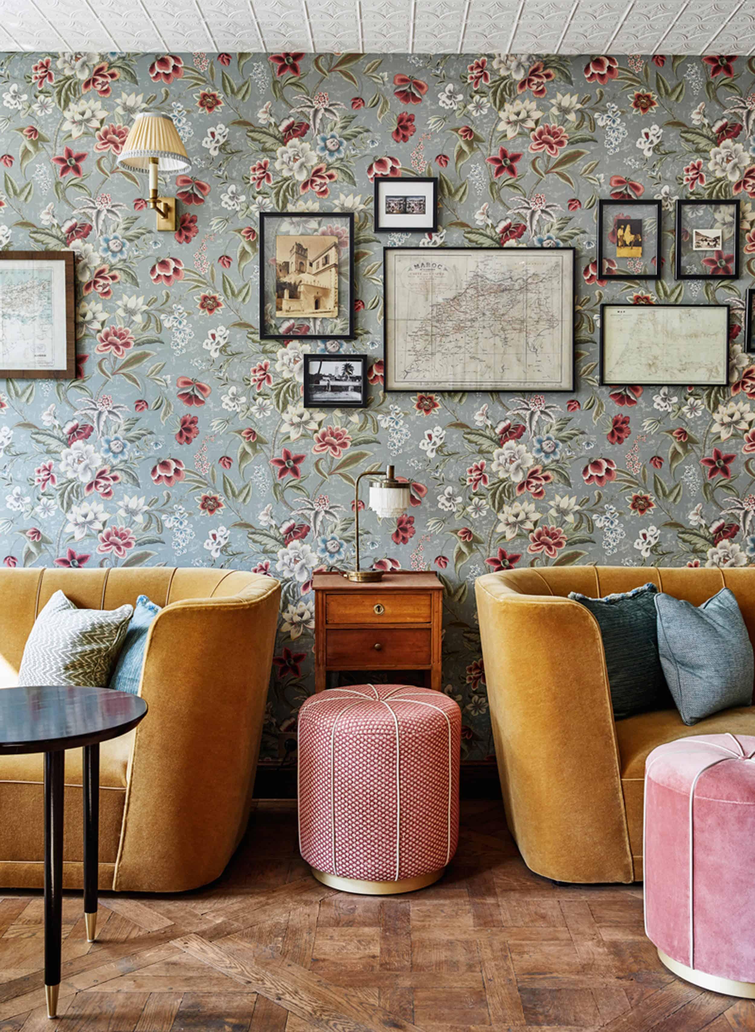 Floral Wallpaper Velvet Sofas