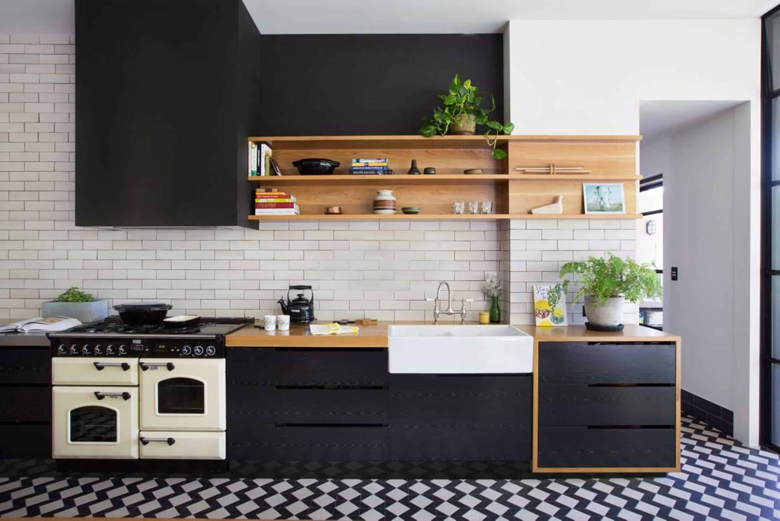 Kitchen With Black Cabinets Open Shelving