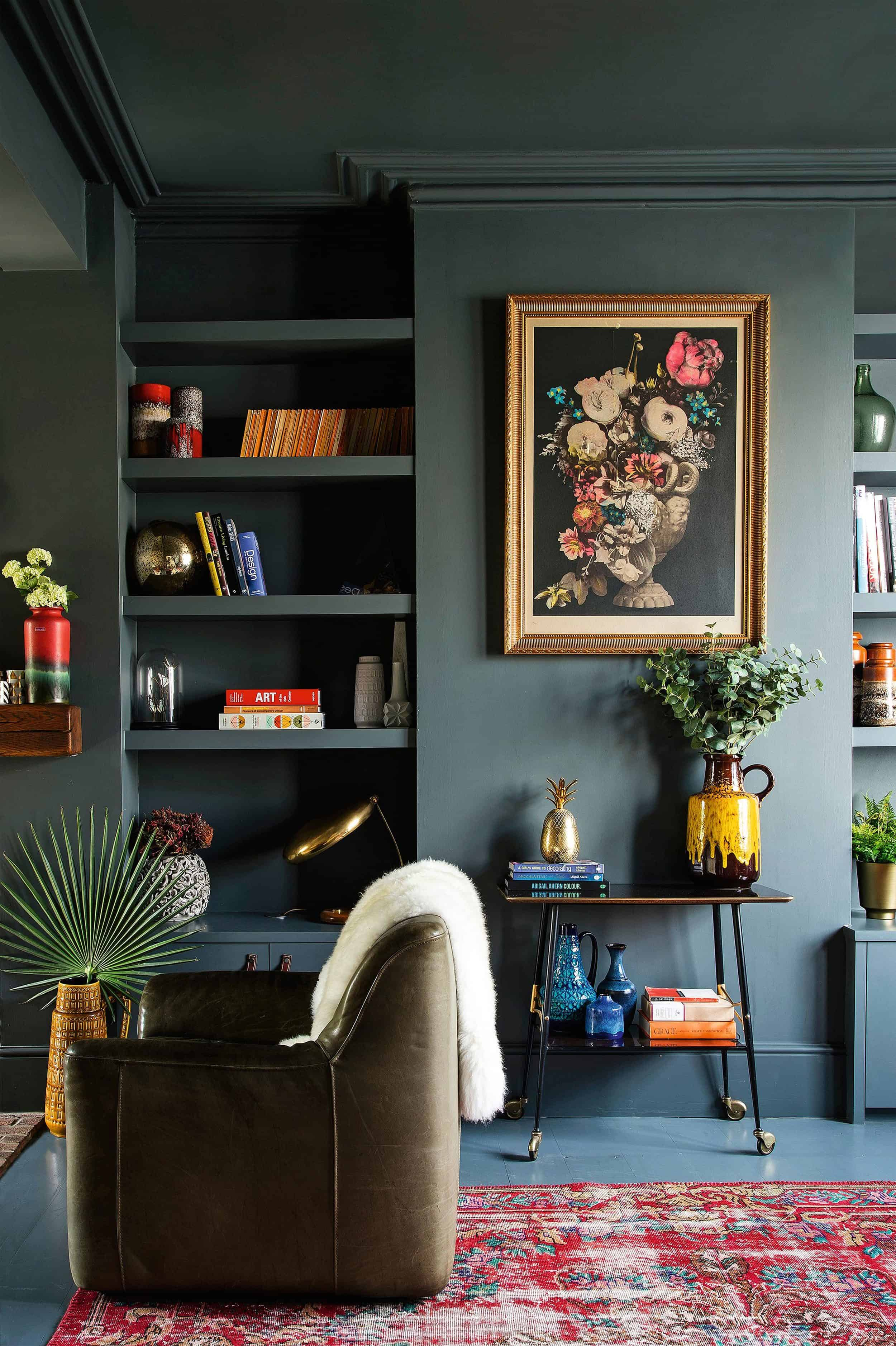 Moody Dark Green Painted Living Room