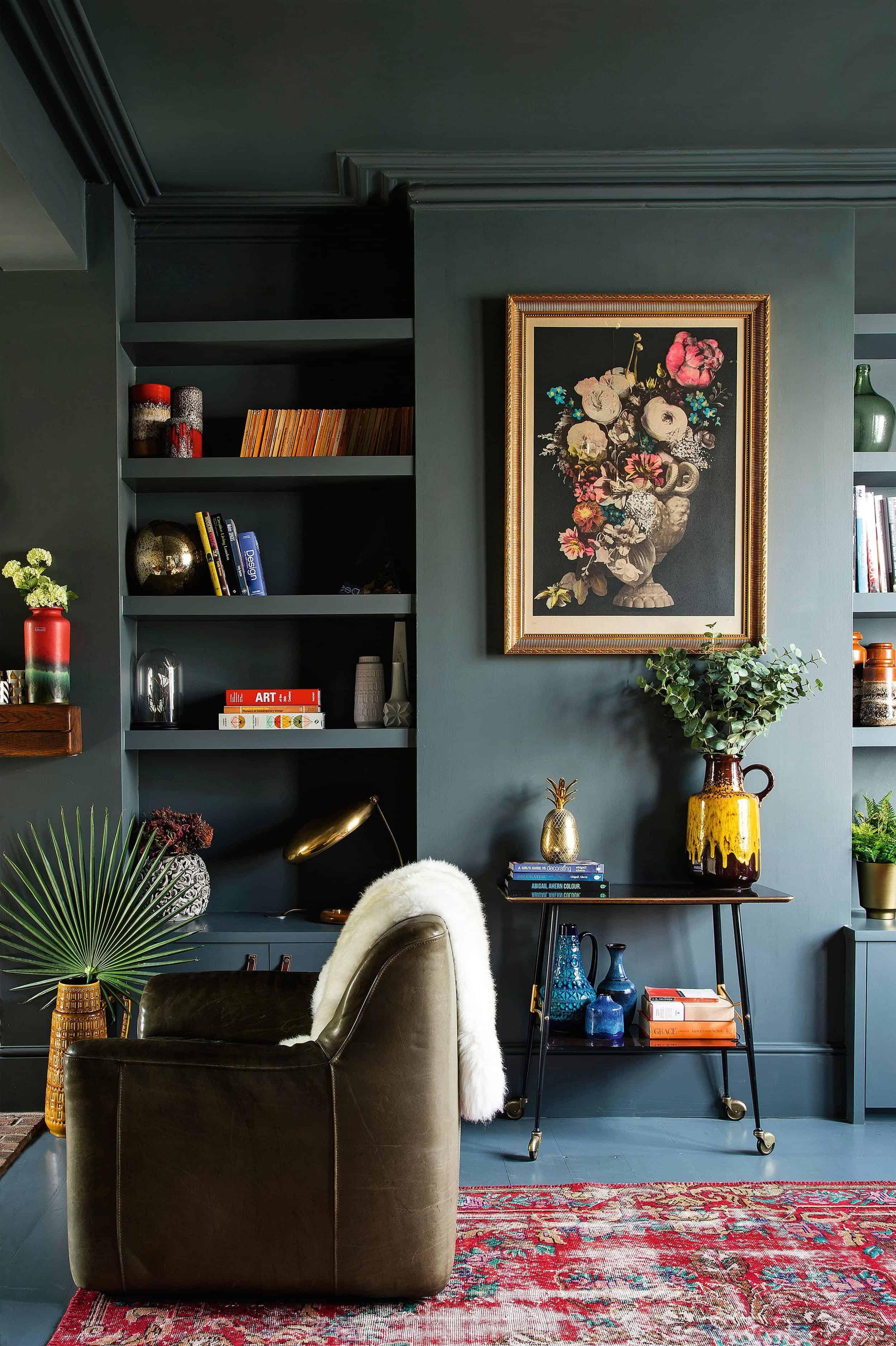 Moody Dark Green Painted Living Room