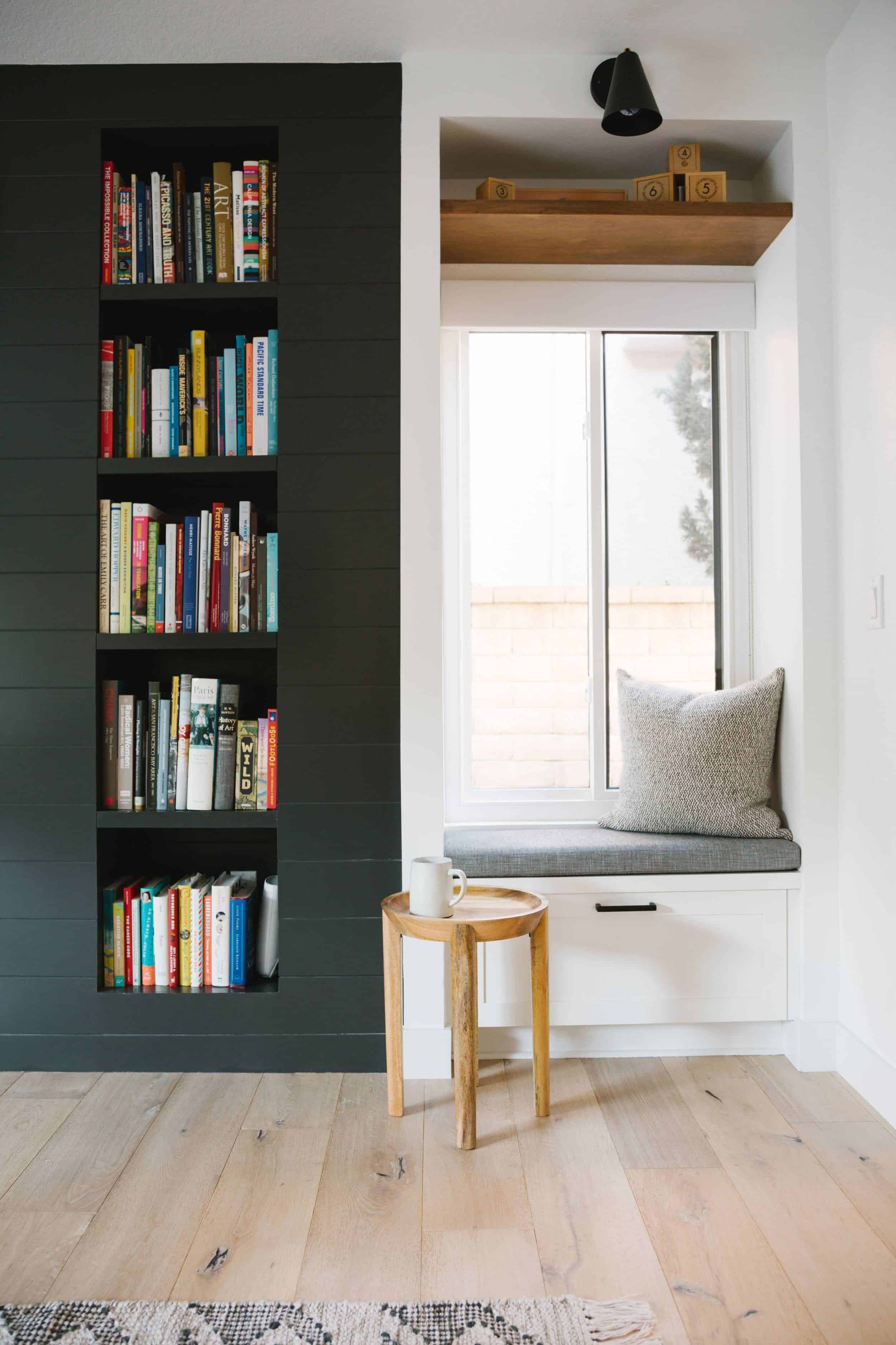 Window Seat Reading Nook With Built-in Shelving