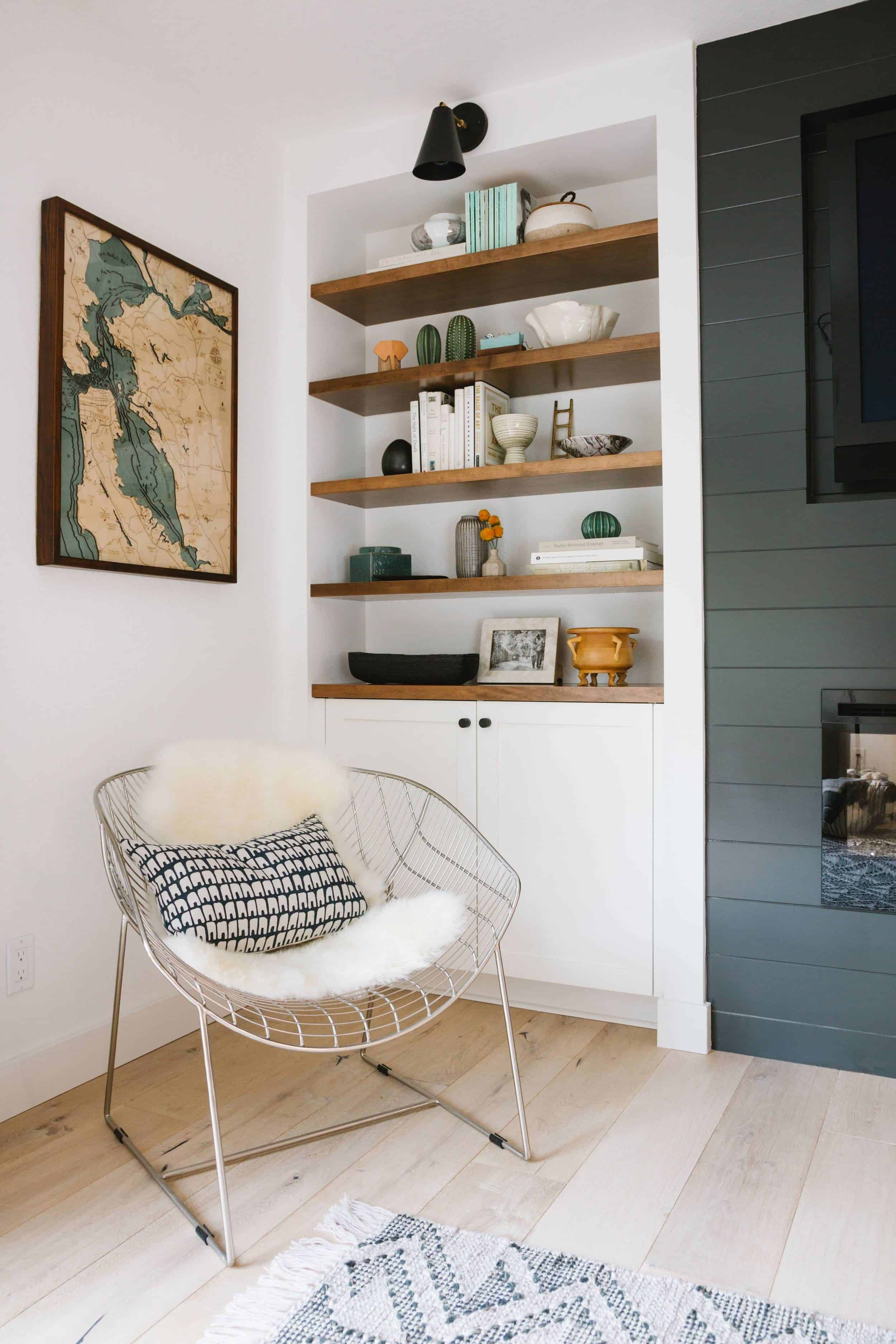 Shiplap Fireplace and Open Shelving