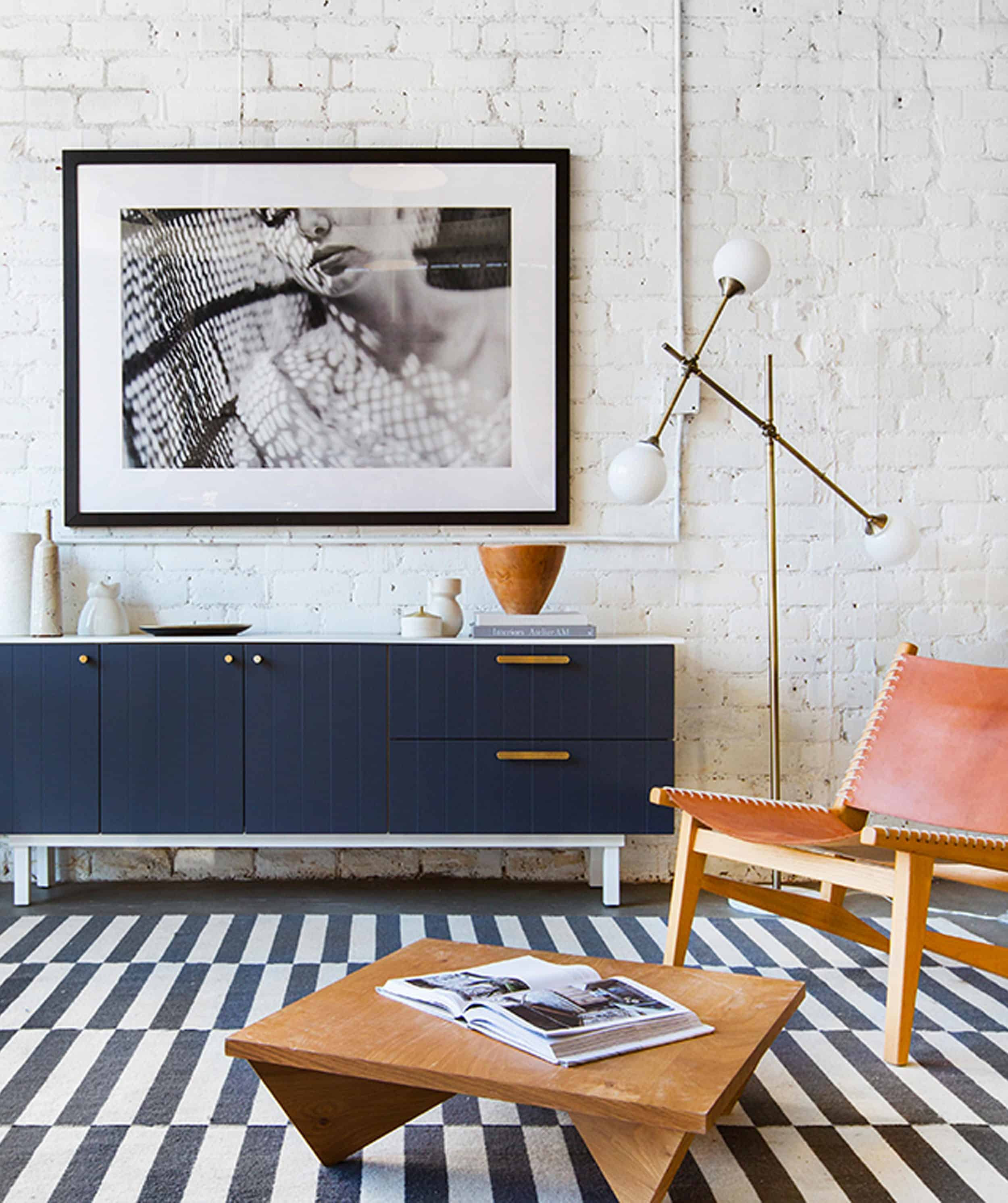 Painted White Brick Wall Modern Living Room