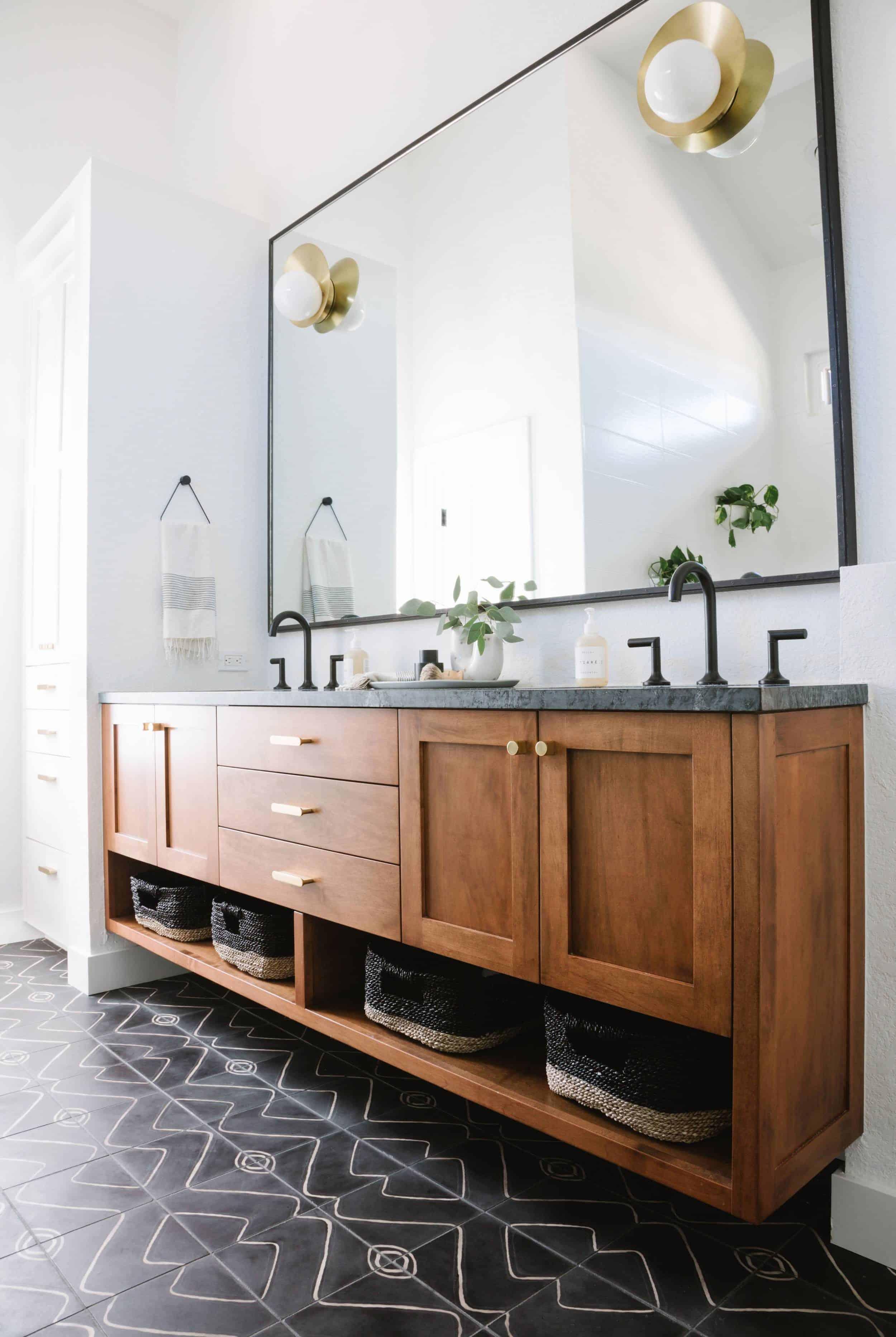 Wood Bathroom Vanity Cement Tile Floors