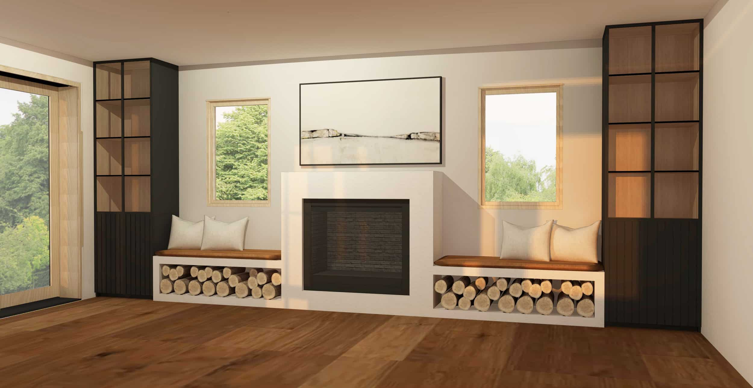 Emily Henderson Family Room Fireplace Design 011