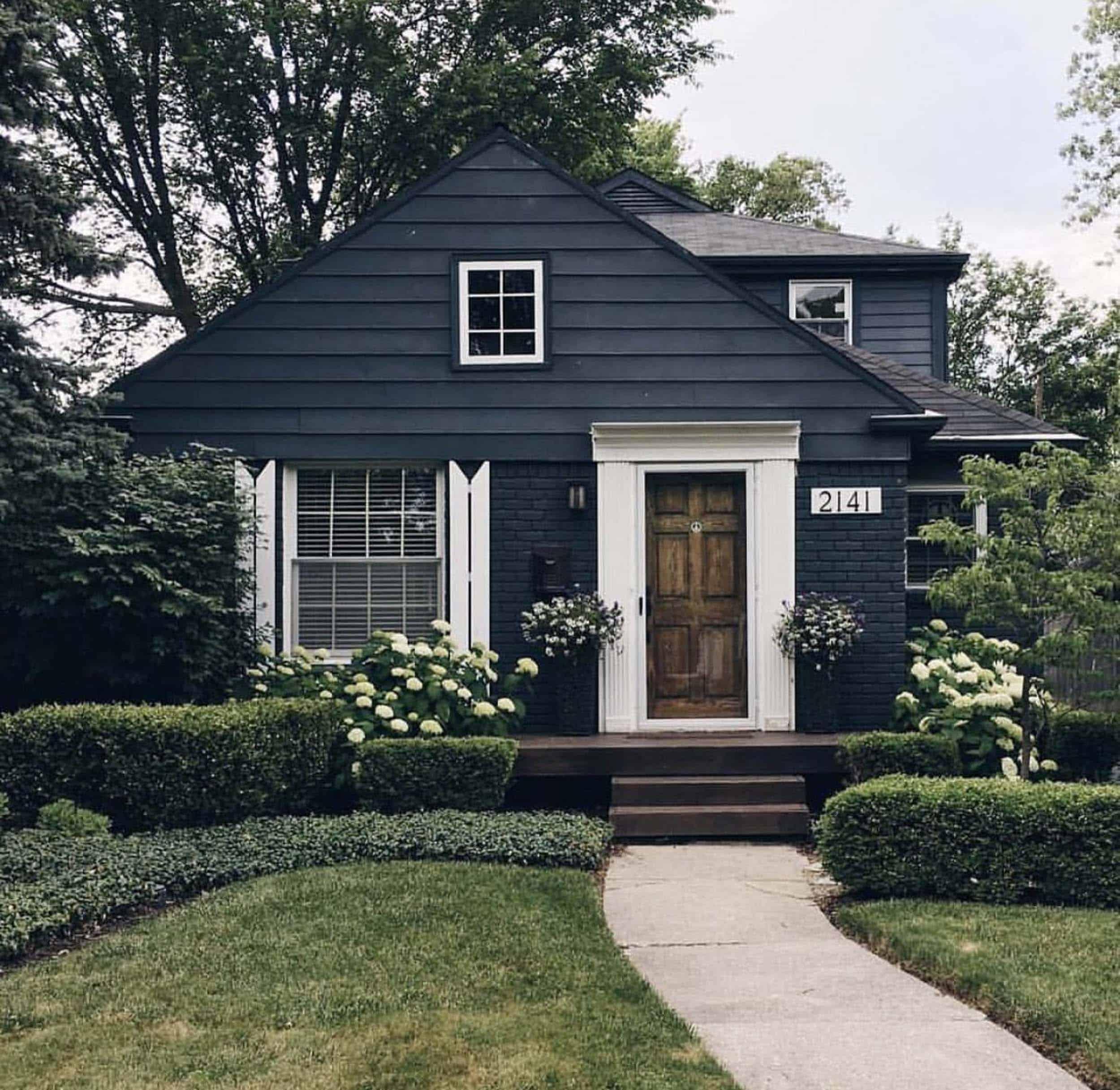Dark Blue House White Trim