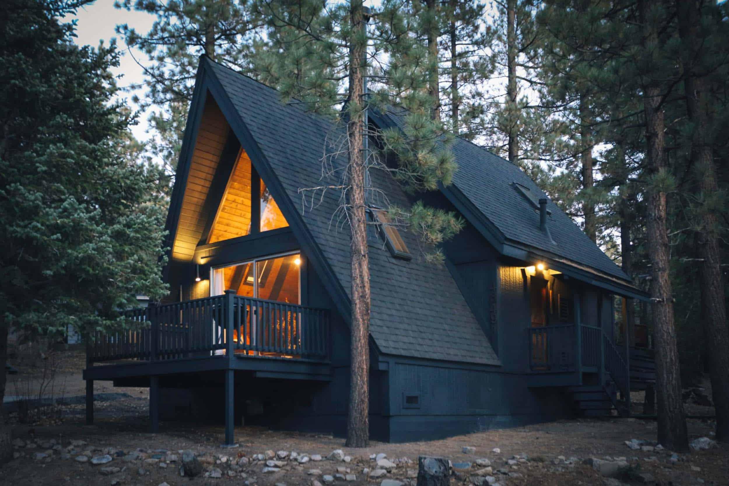 A Frame Cabin Dark Exterior