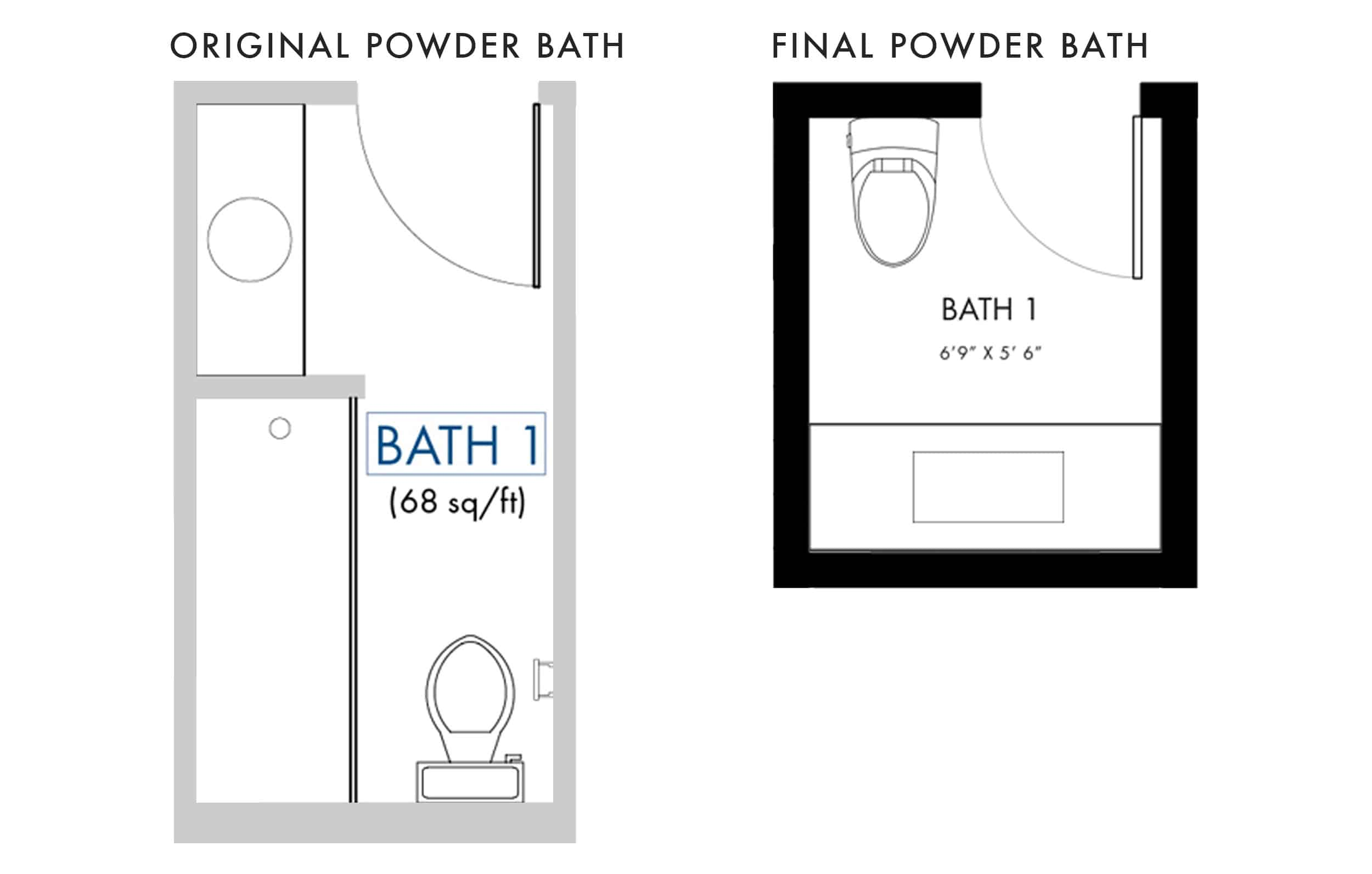 Emily Henderson Mountain Fixer I Design You Decide Powder Bath Floor Plan Original And Final