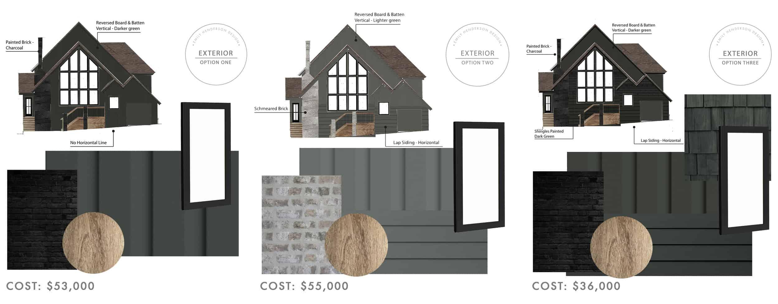 Emily Henderson Mountain Fixer I Design You Decide Exterior 3 Options 1