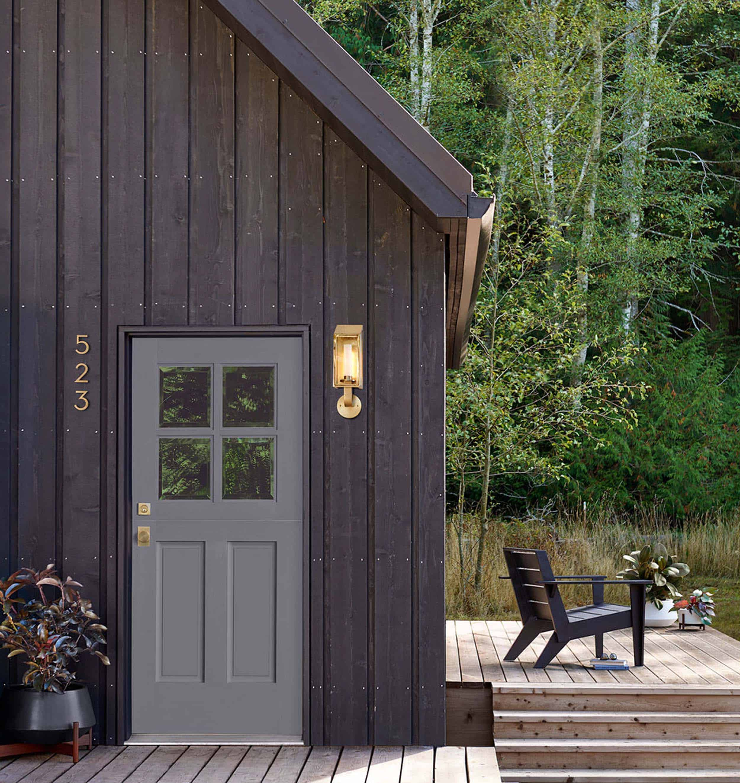 Brass House Numbers Dark Wood Cabin Siding