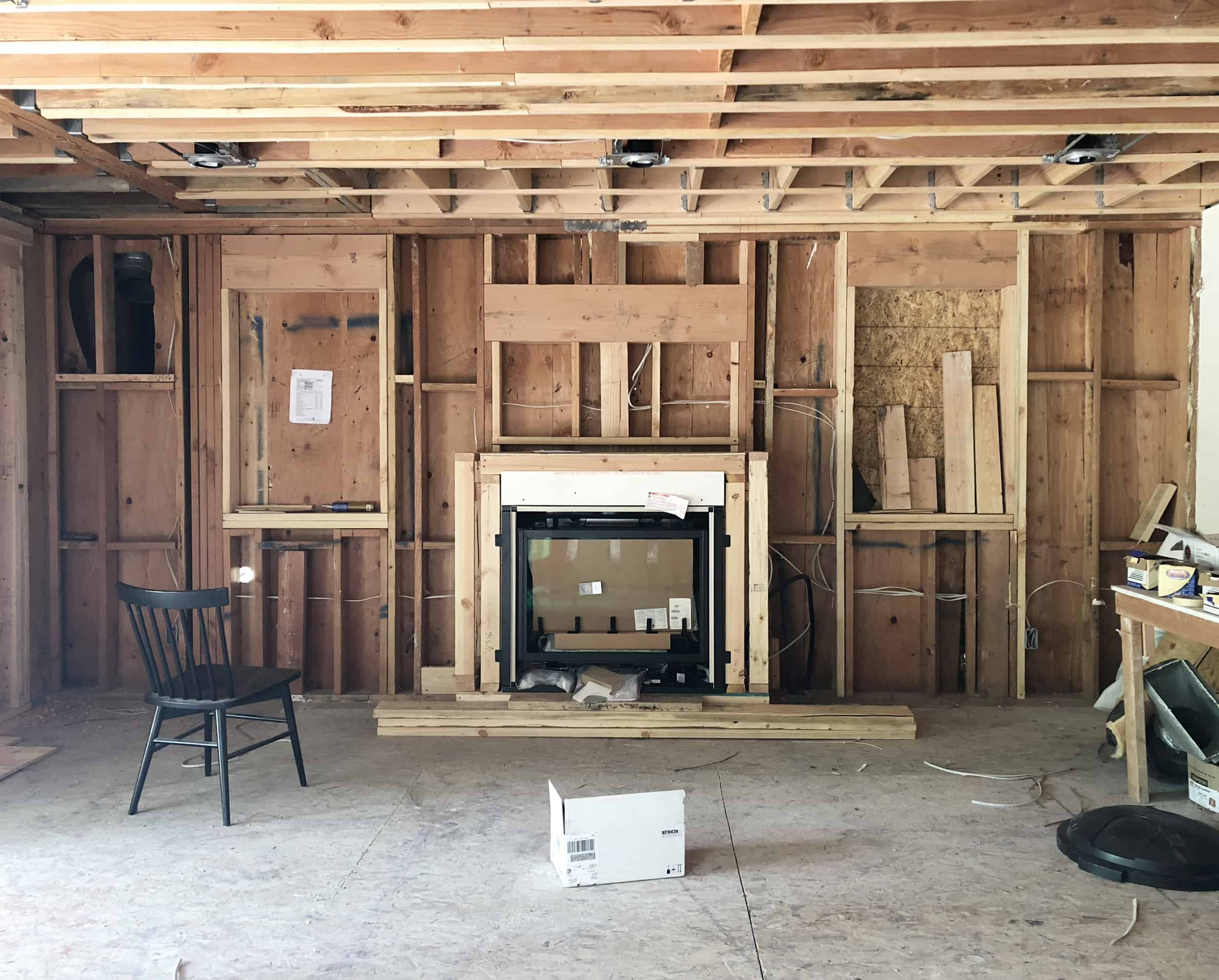 Emily Henderson Mountain Fixer Upper Family Room Fireplace Construction Progress
