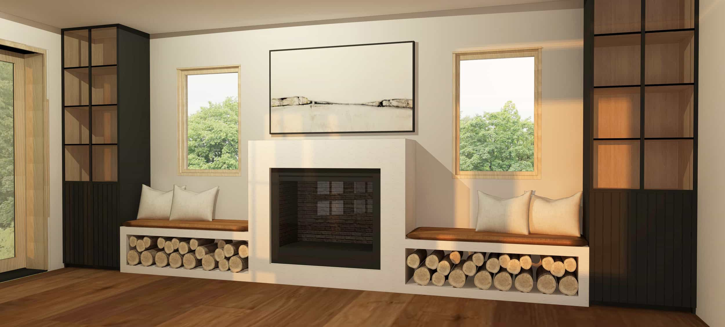 Emily Henderson Mountain Fixer Upper Family Room Fireplace Render 02