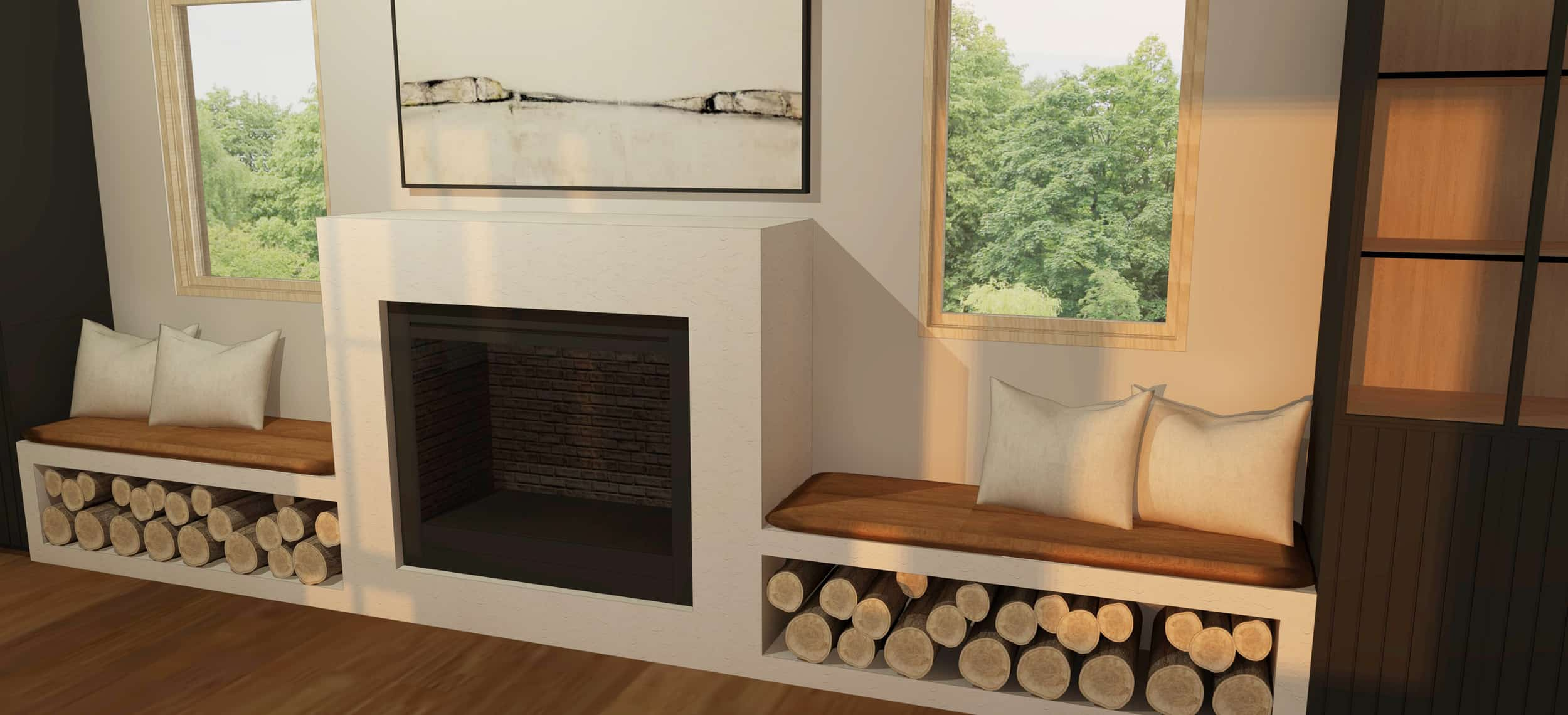 Emily Henderson Mountain Fixer Upper Family Room Fireplace Render 03