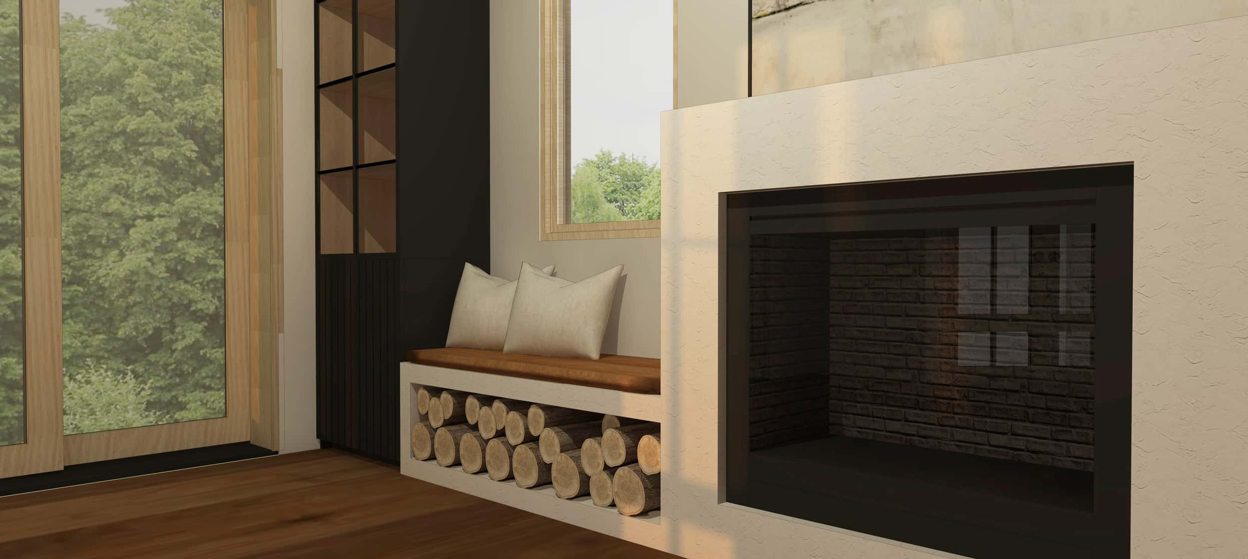 Emily Henderson Mountain Fixer Upper Family Room Fireplace Render 05 Shadow