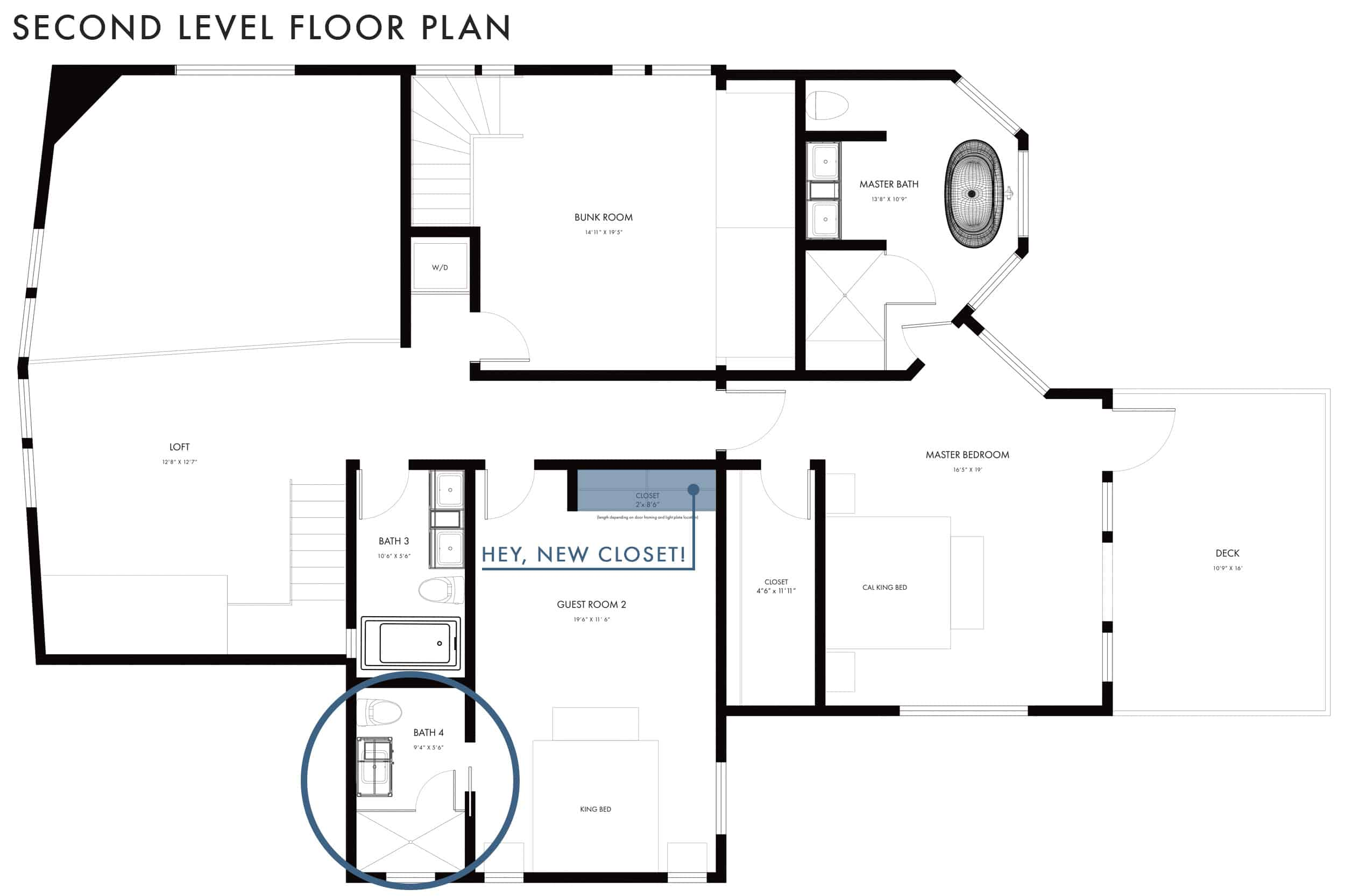 Emily Henderson Mountain Fixer Upper Second Level Guest Bath Floor Plan Bath Only Closet Callout