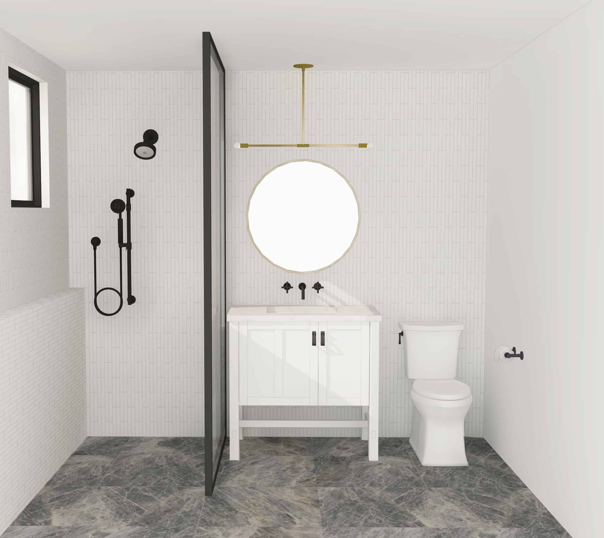 Emily Henderson Mountain Fixer Upper Second Level Guest Bath Render 01