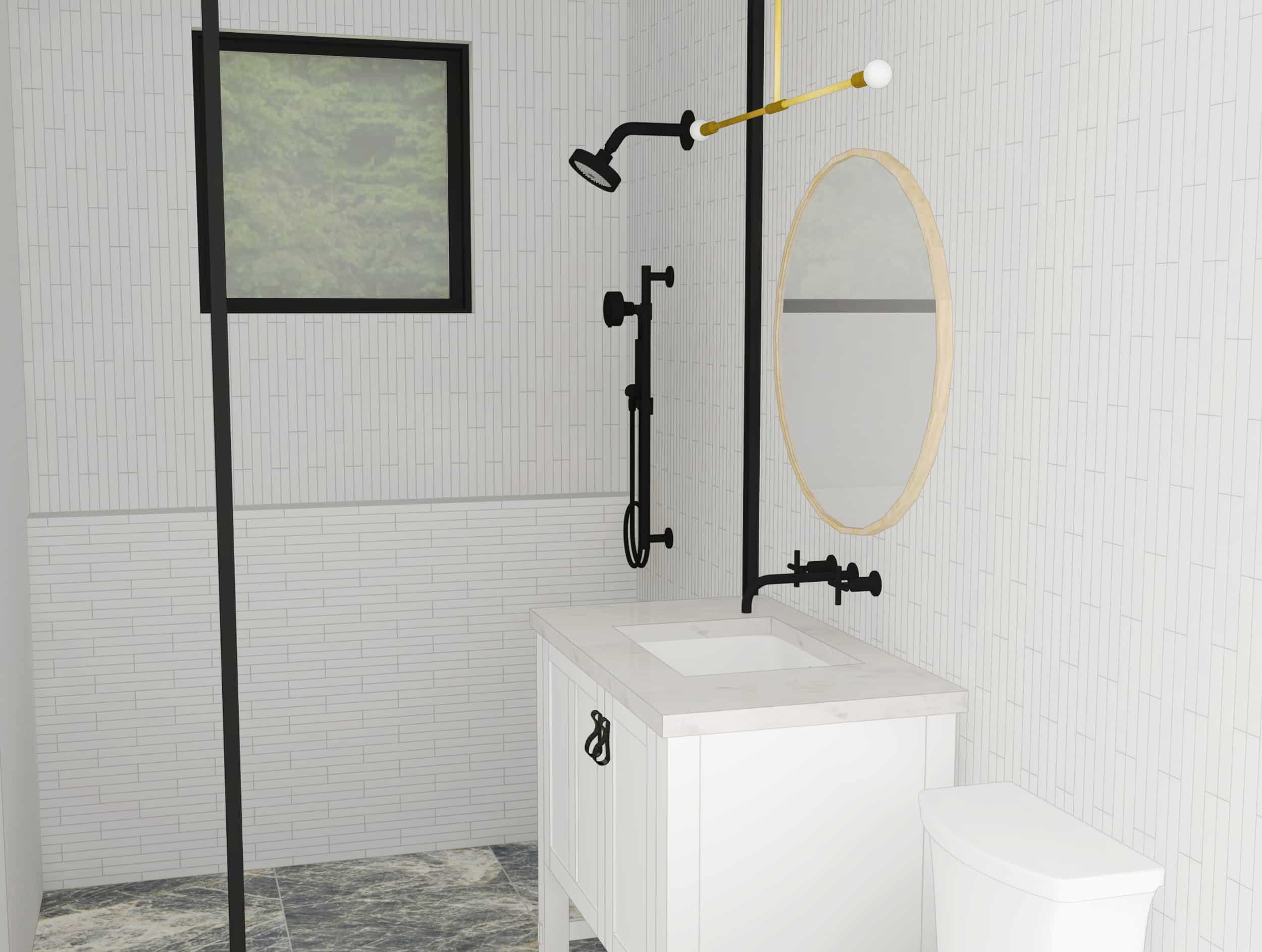 Emily Henderson Mountain Fixer Upper Second Level Guest Bath Render 04