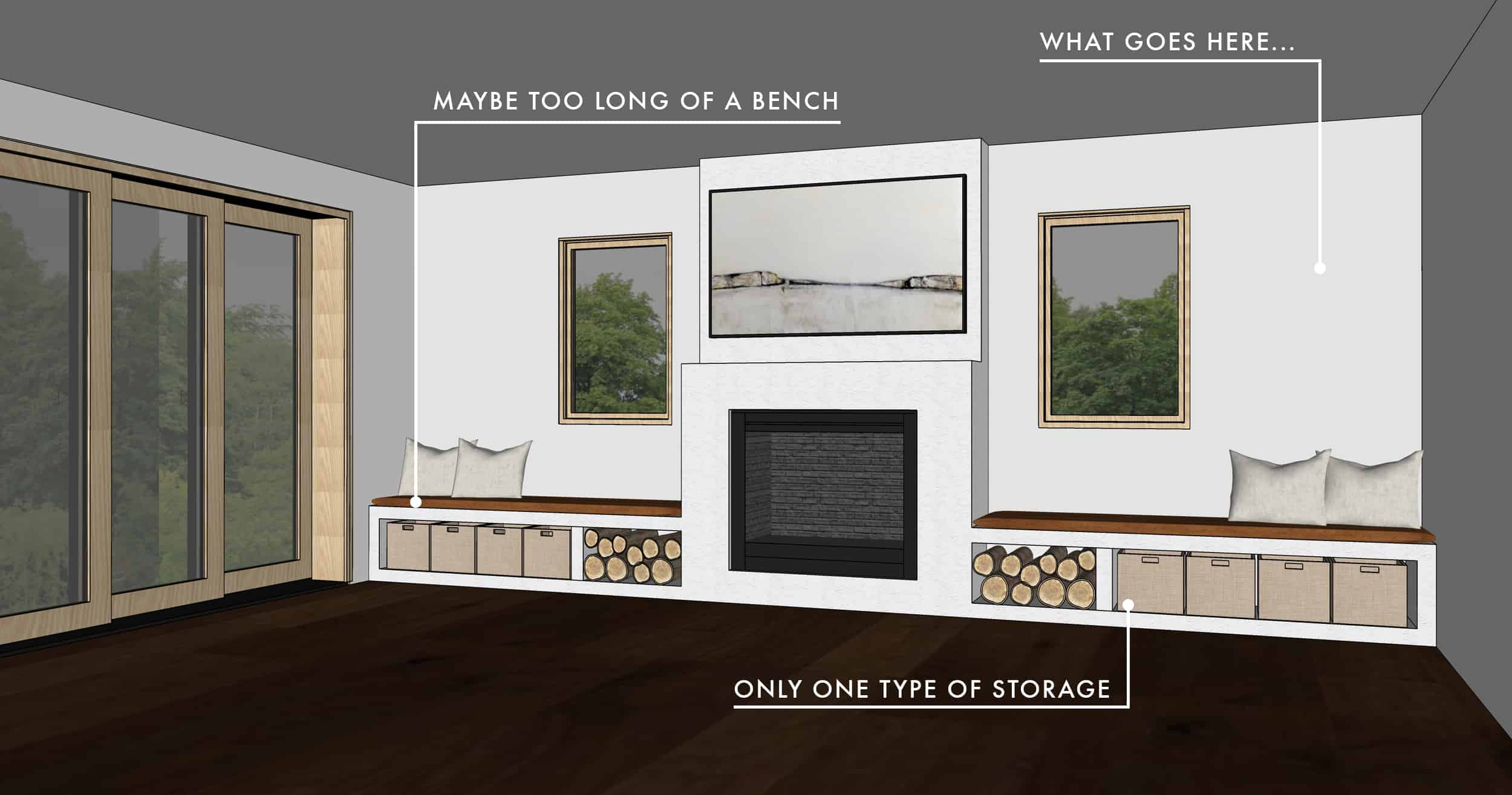 Emily Henderson Mountian Fixer Upper Family Room Fireplace Notes Considered Option 011