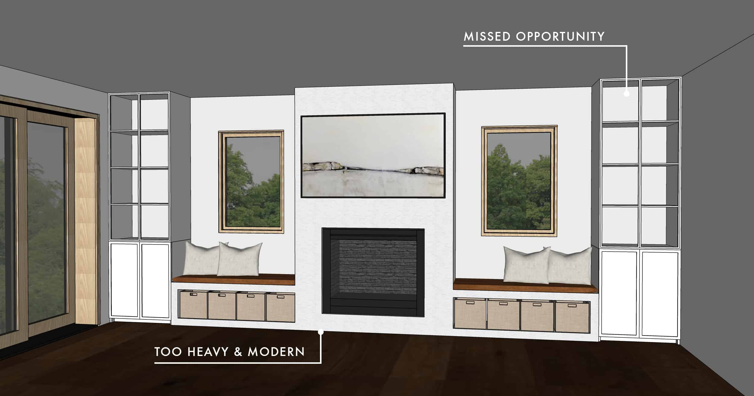 Emily Henderson Mountian Fixer Upper Family Room Fireplace Notes Considered Option 021