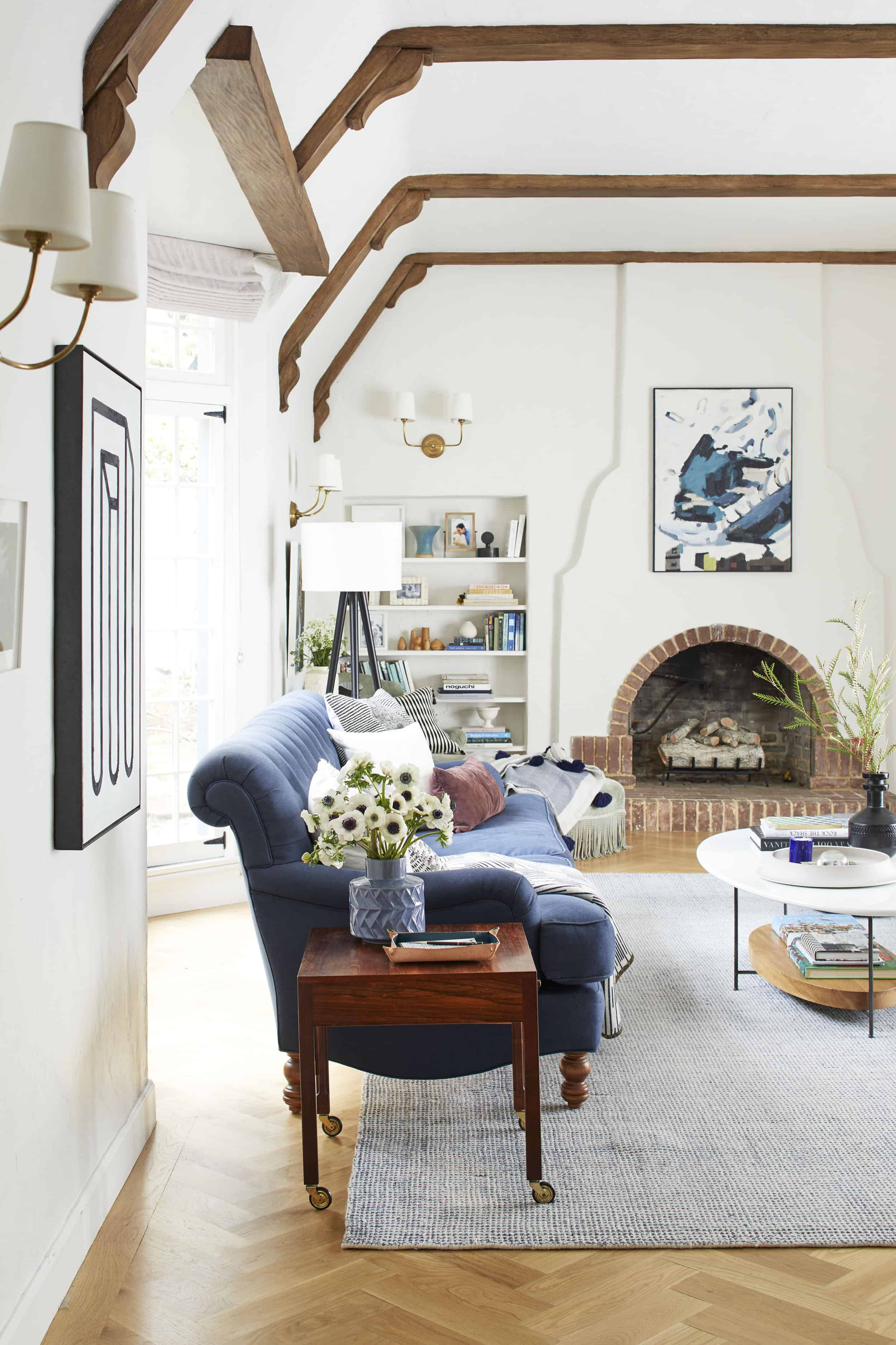 New Modern Traditional Neutral Living Room Navy Sofa