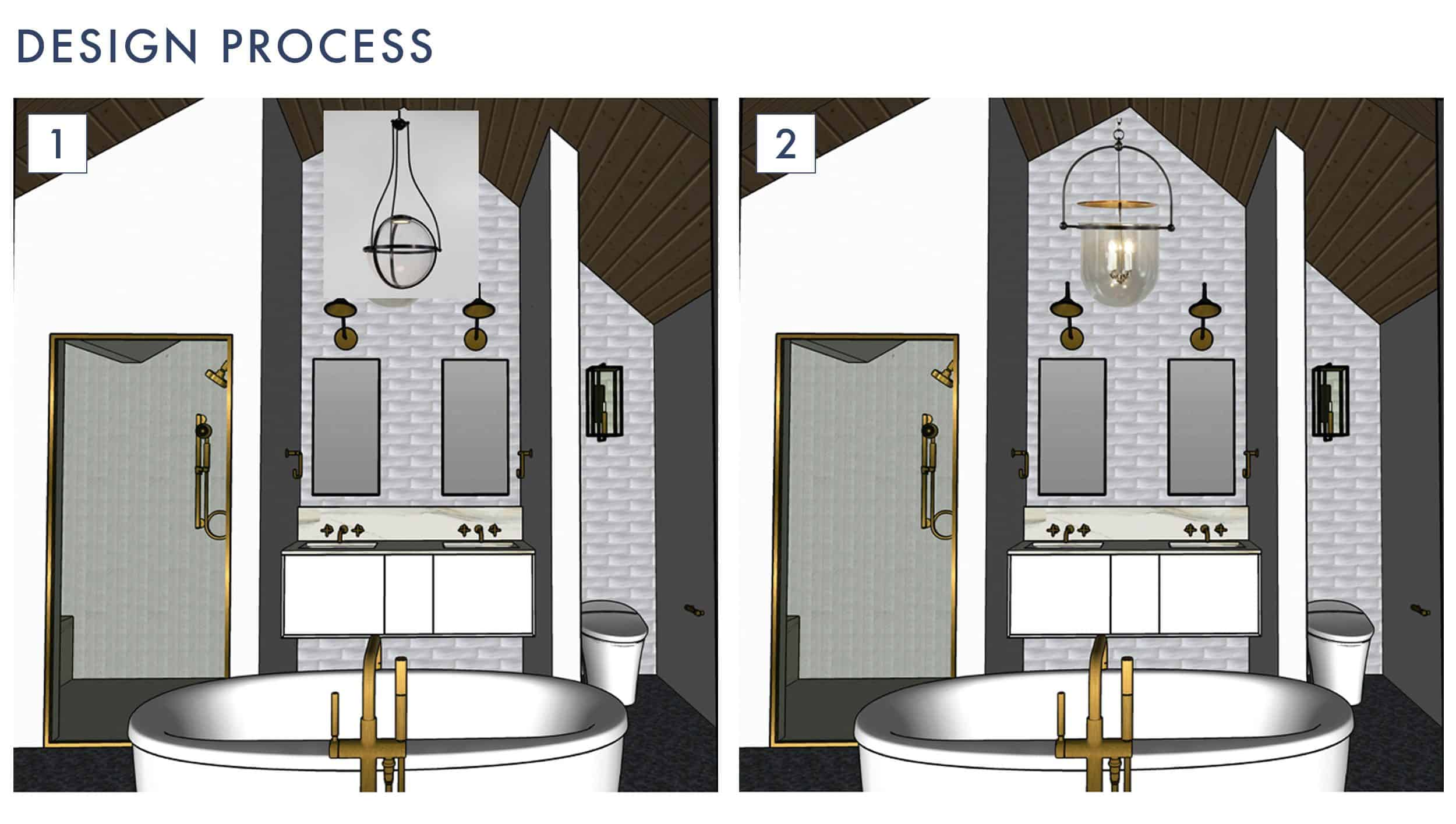 Emily Henderson Design Mountain Fixer Master Bathroom Lighting Process 1 1
