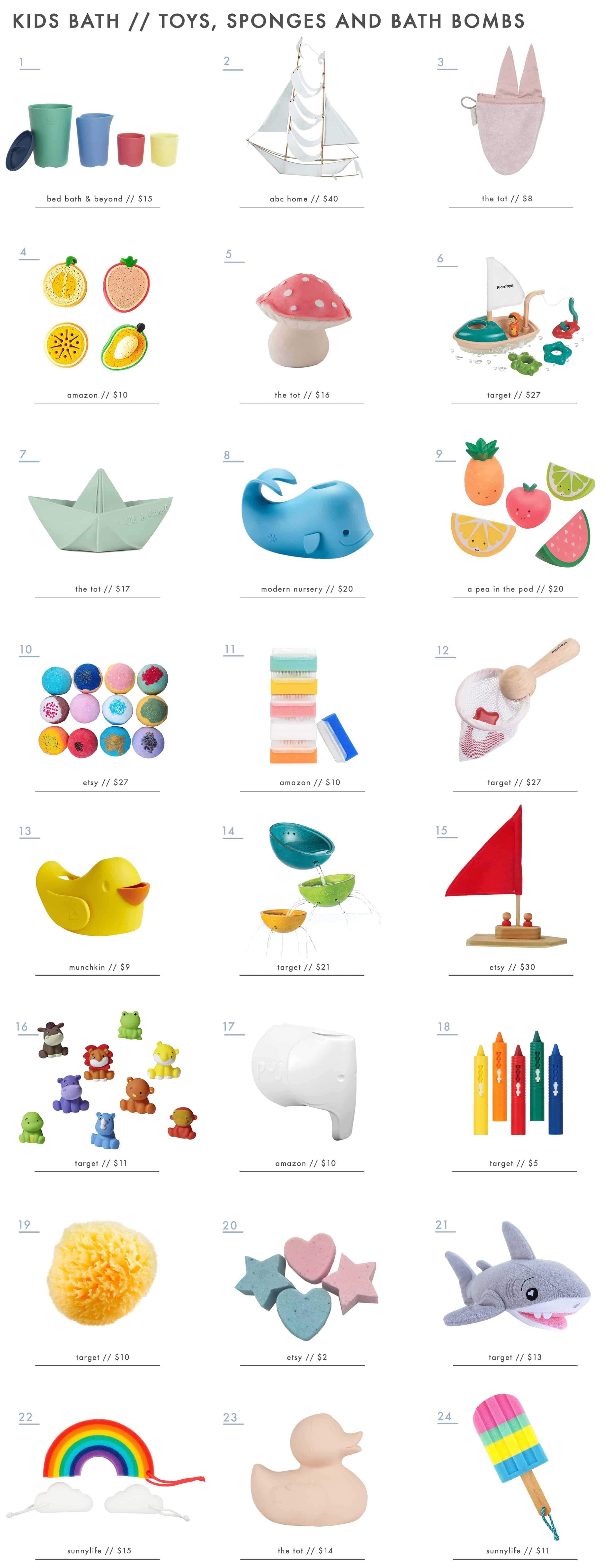 Emily Henderson Kids Bath Decor Accessories Roundup Bath Toys Sponges Bubbles