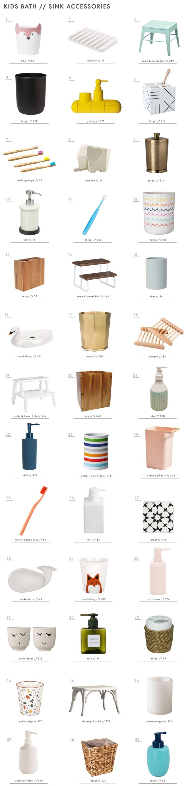 Emily Henderson Kids Bath Decor Accessories Roundup Sink Accessories