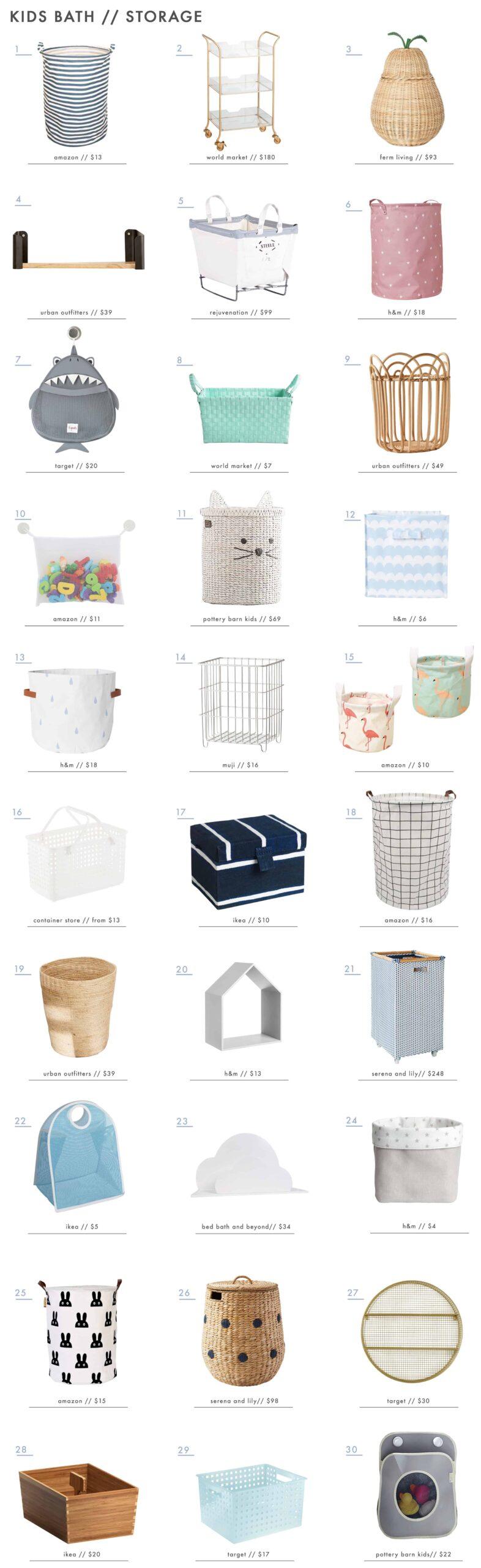 Emily Henderson Kids Bath Decor Accessories Roundup Storage