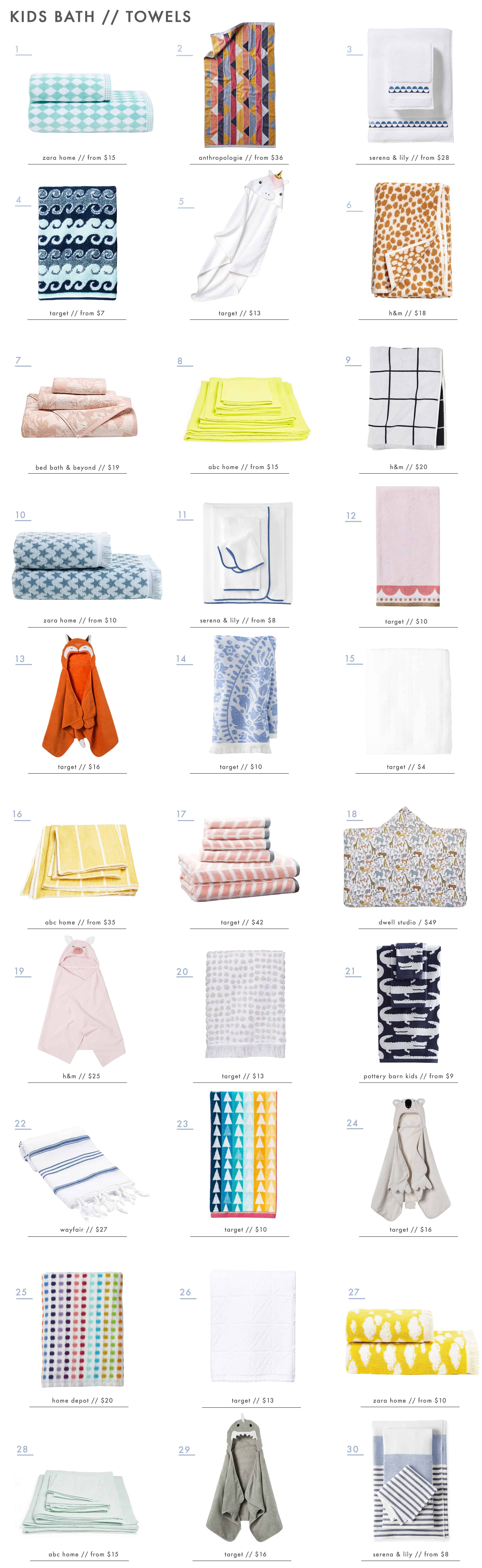 Emily Henderson Kids Bath Decor Accessories Roundup Towels